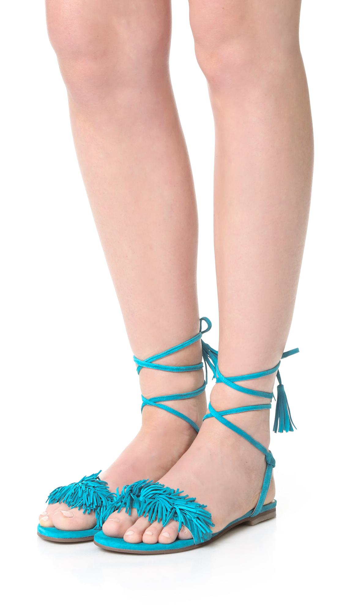 Matiko Delilah Fringe Flat Sandals In Blue Lyst