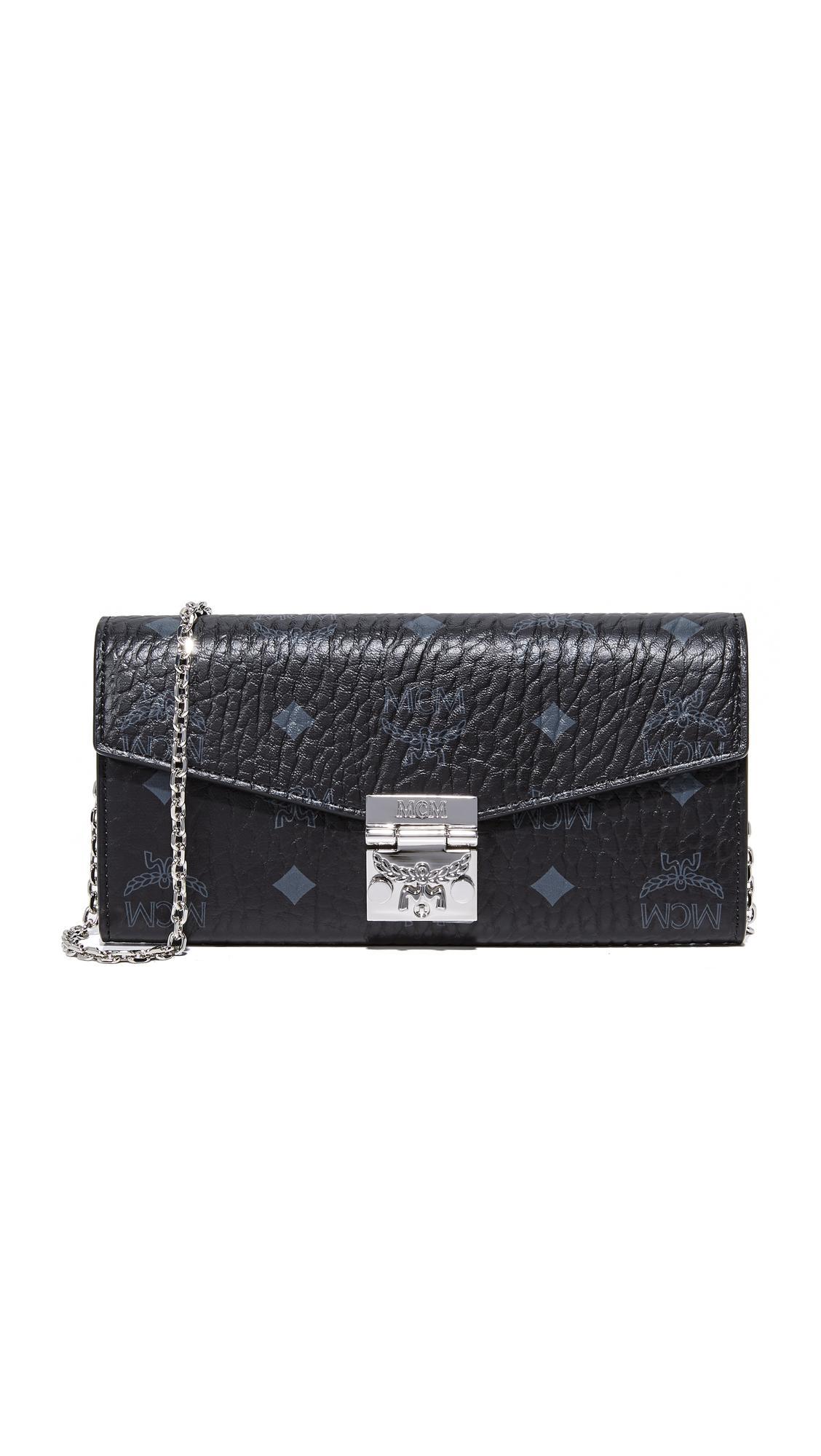 Mcm Patricia Visetos Wallet In Black Lyst