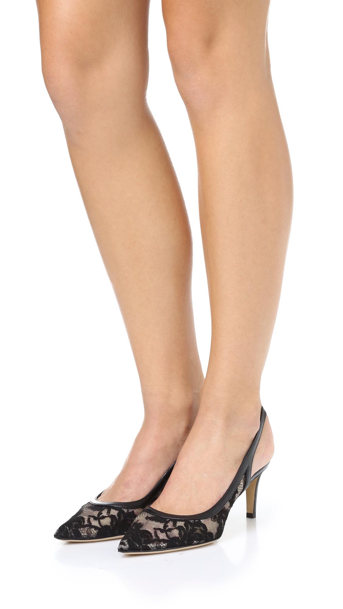 Monique Lhuillier Black Lace Shoes