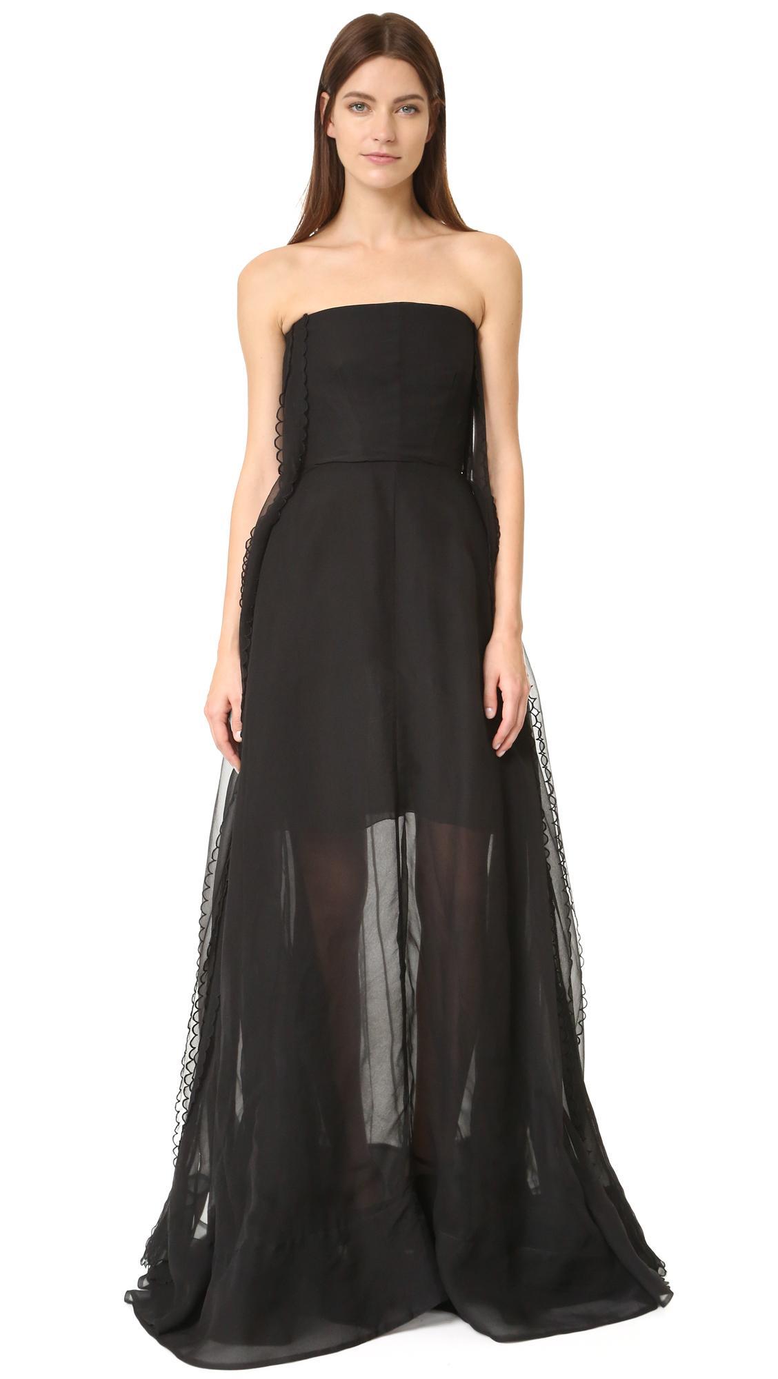 Lyst - Rochas Strapless Gown in Black