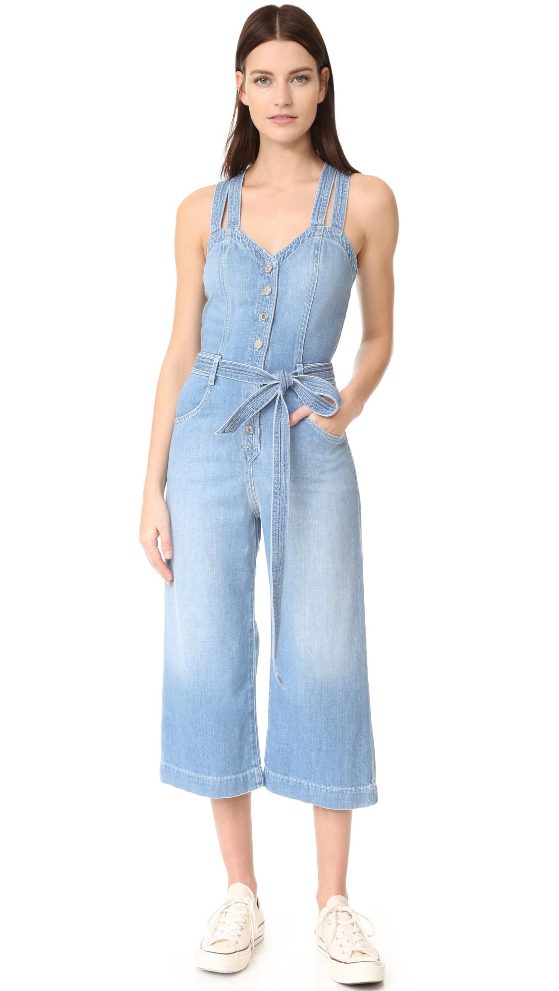 b0e9ab0af0f Lyst - 7 For All Mankind Culotte Jumpsuit in Blue