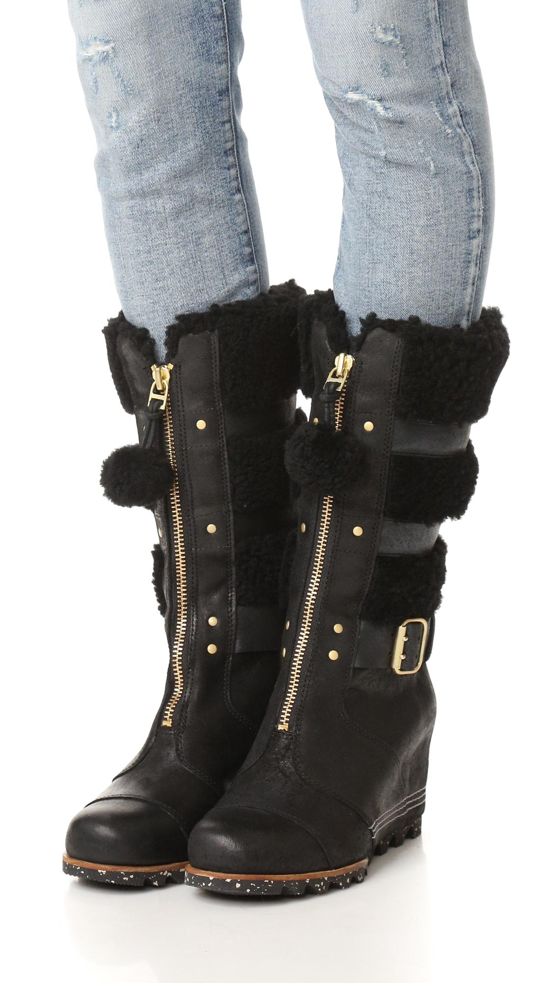sorel helen wedge holiday boots in black lyst