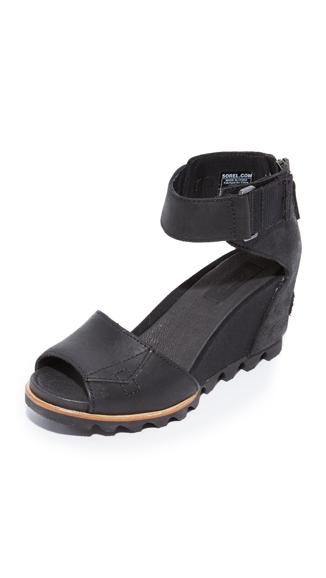 Sorel Joanie Wedge Sandals In Black Lyst