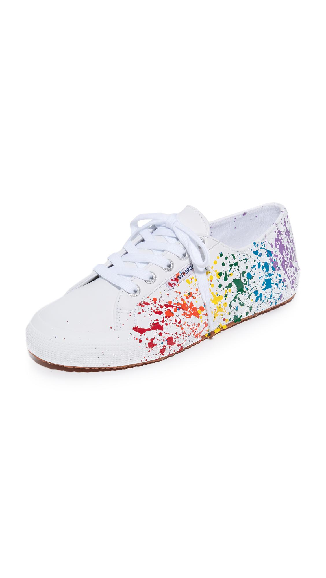 Superga 2750 Leather Splatter Paint Sneakers In White Lyst