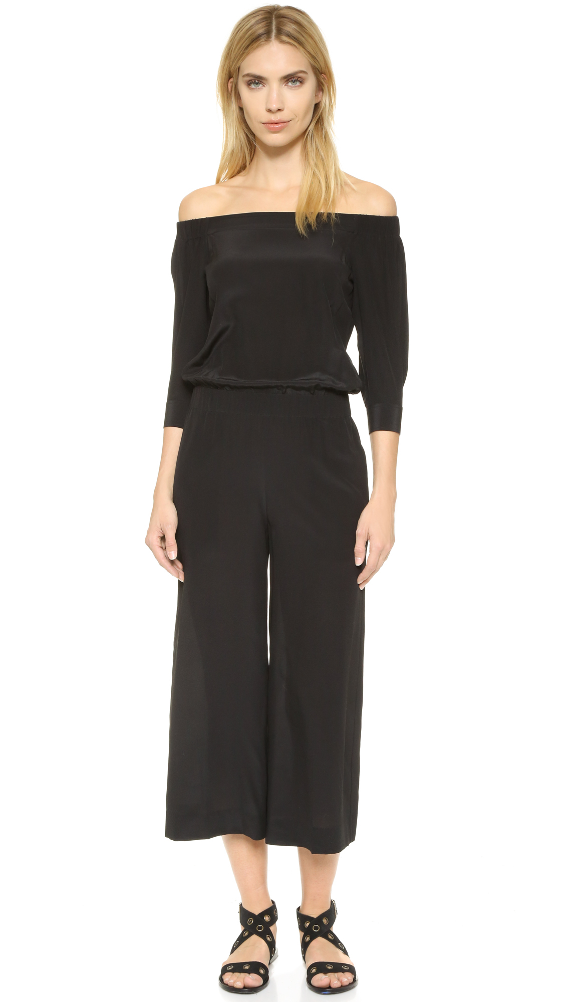 2ed19b270313 Lyst - Theory Faley Mosaic Jumpsuit in Black