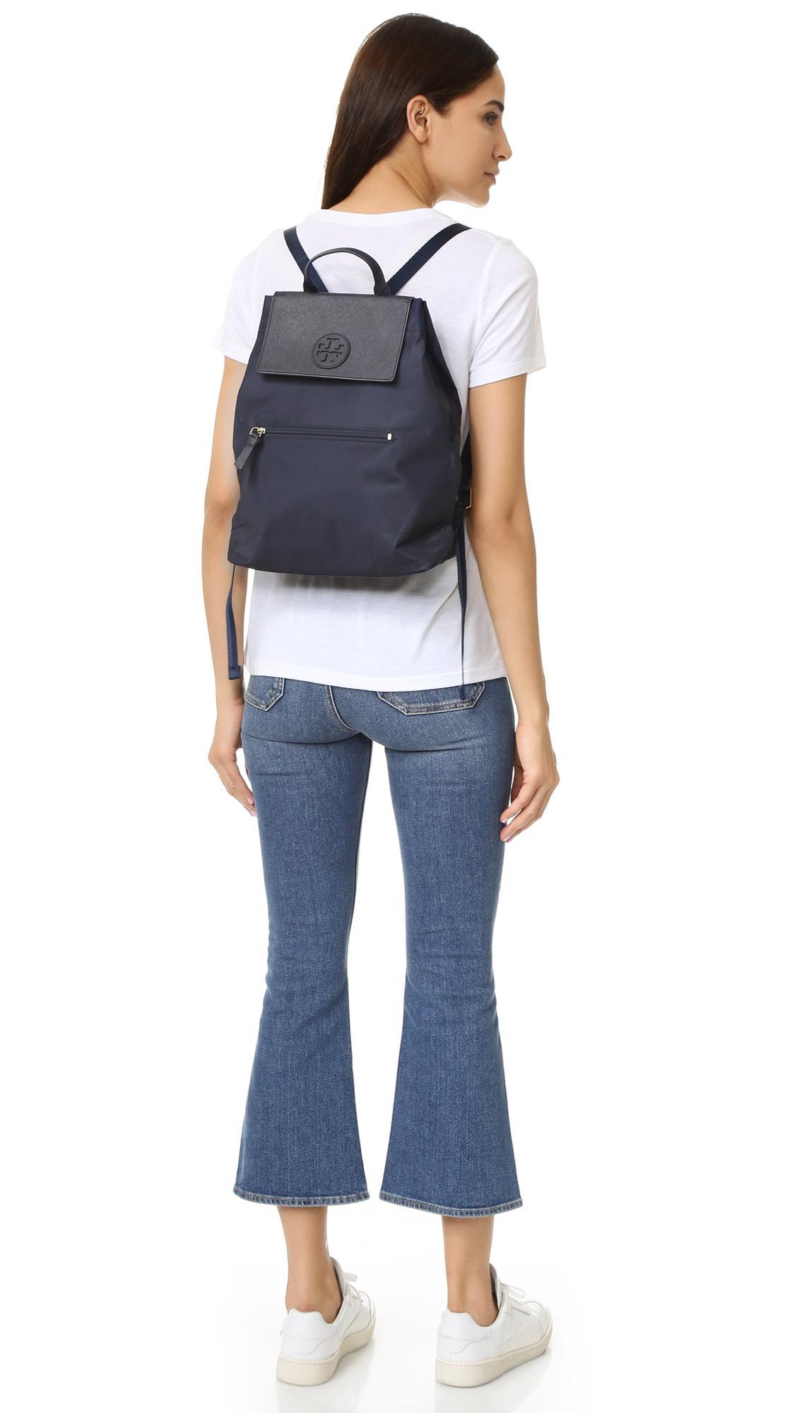 d520cd795d1b Lyst - Tory Burch Ella Packable Backpack in Blue