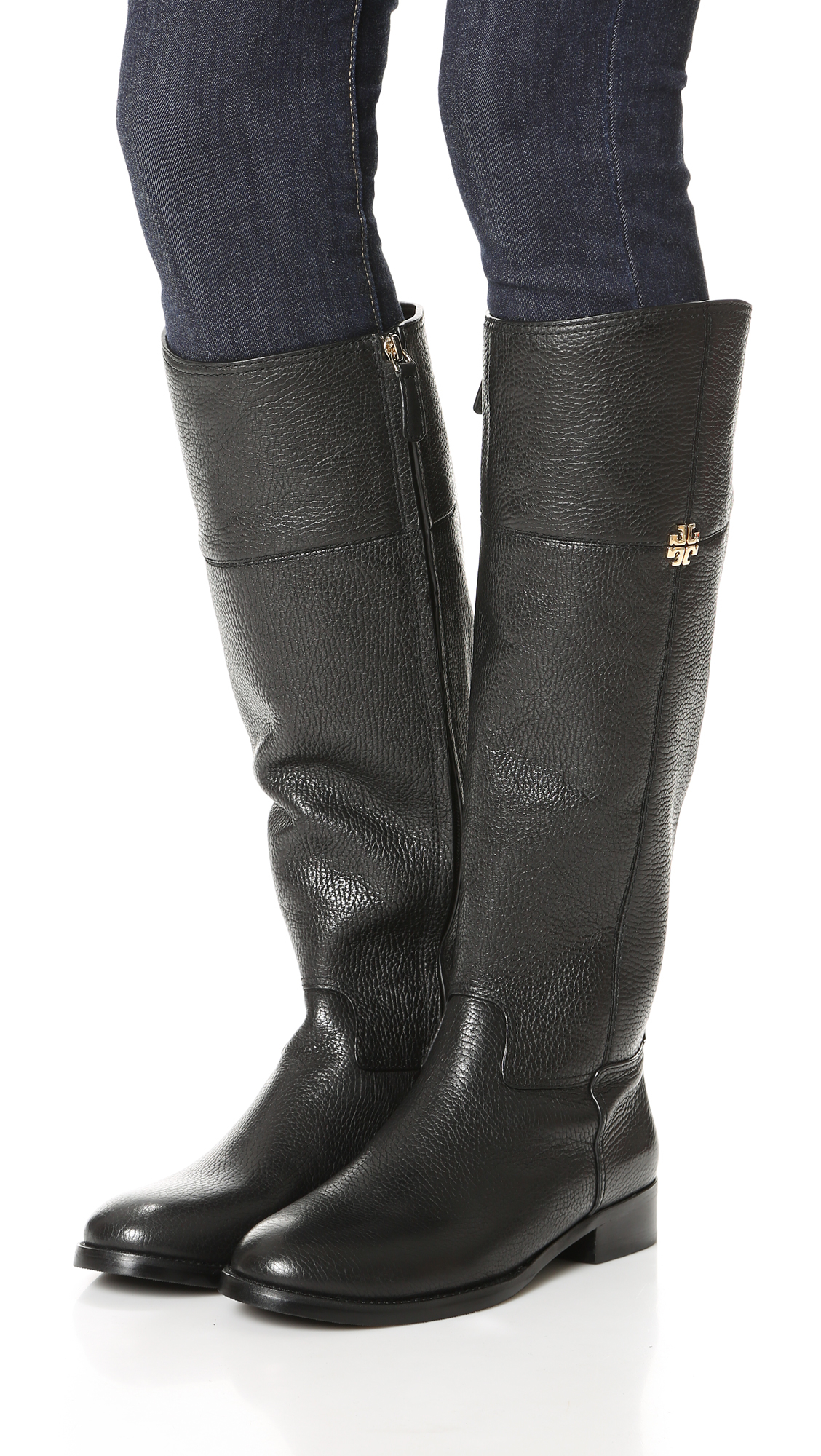 Lyst Tory Burch Jolie Leather Riding Boot In Black
