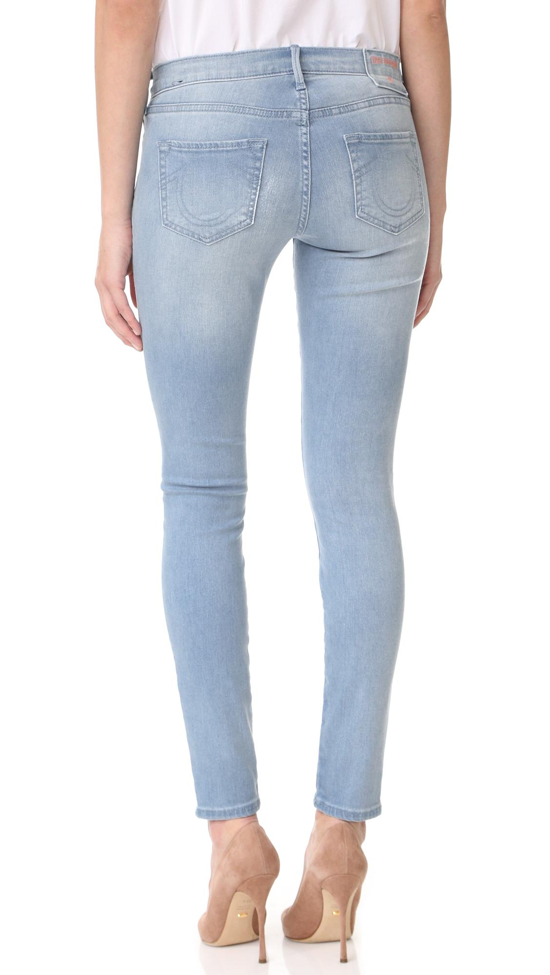 Lyst true religion halle mid rise embroidered skinny