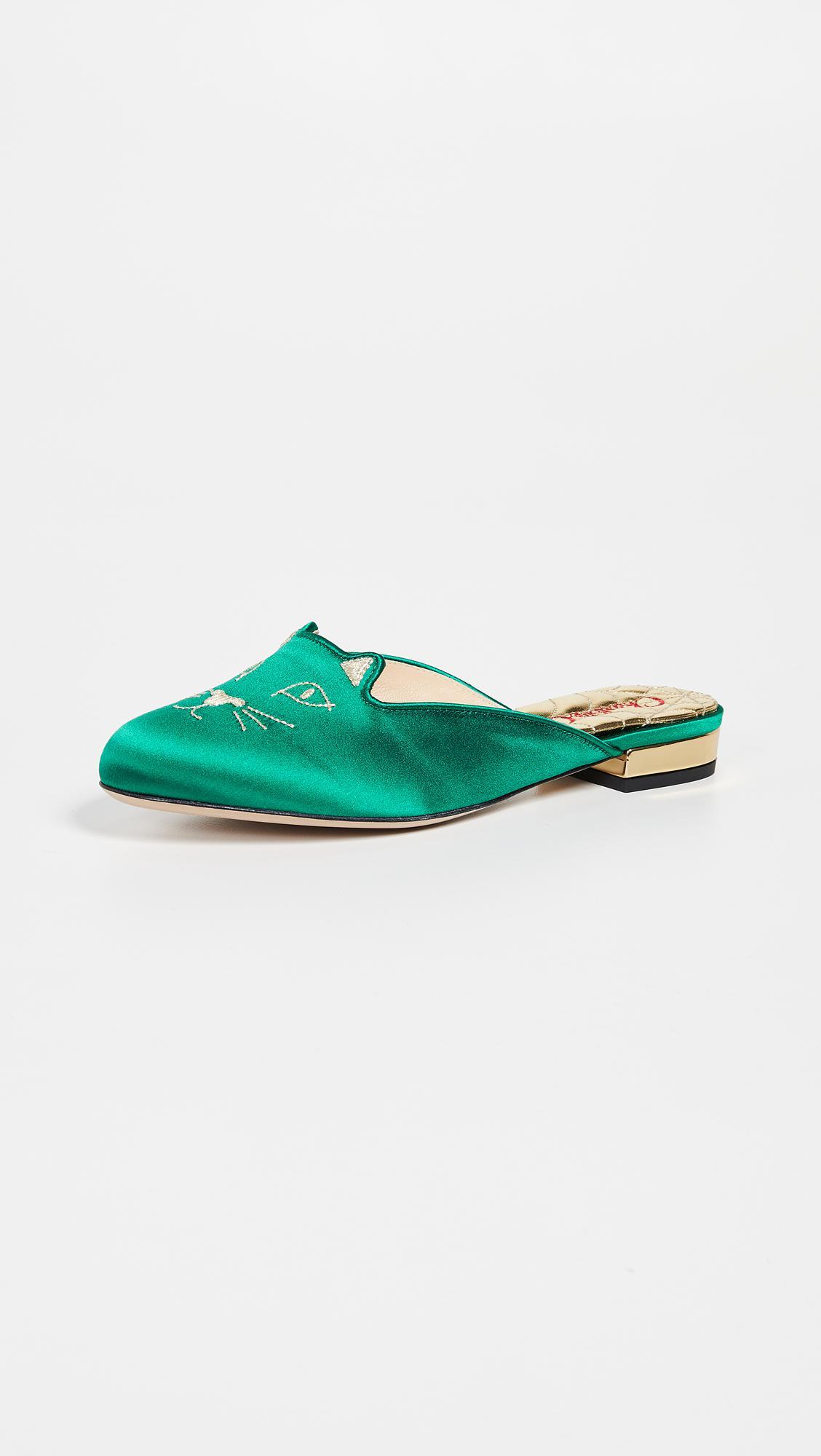 72b4e3ea913 Lyst - Charlotte Olympia Kitty Slippers in Green