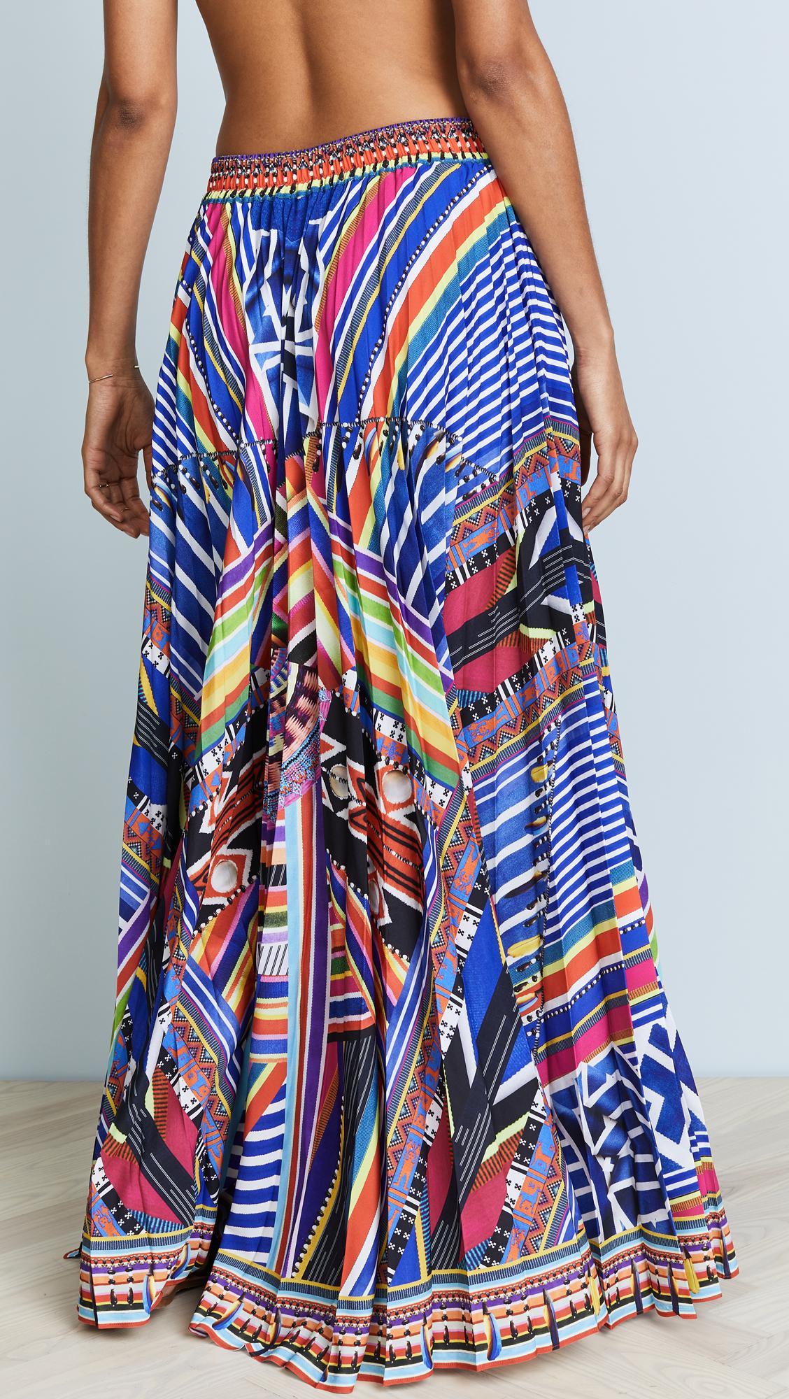 6912966ec Lyst - Camilla Tsachila Blessing Pleated Skirt in Blue