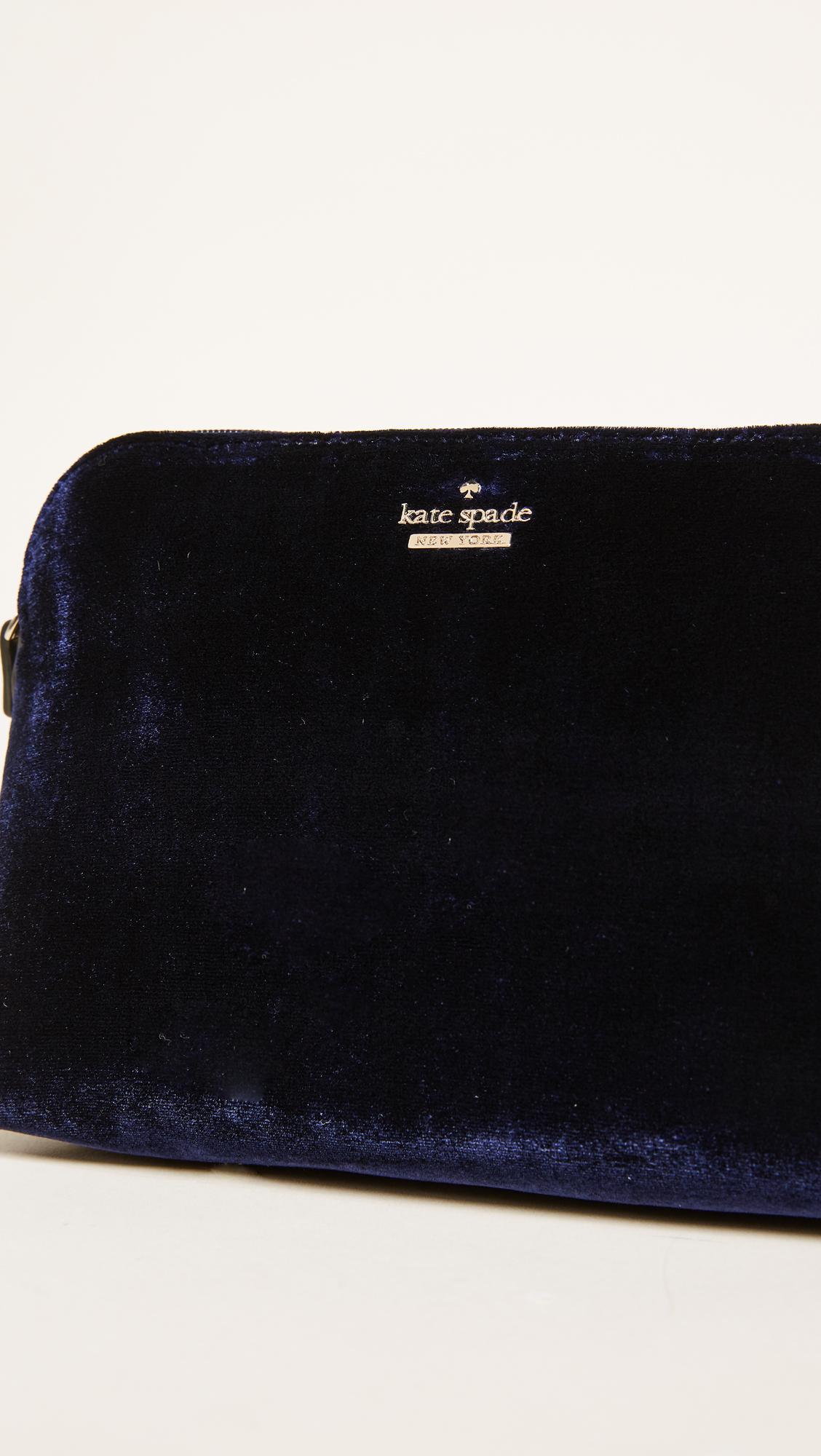 41651a40d171 Kate Spade Watson Lane Velvet Small Briley Small Makeup Bag in Black ...