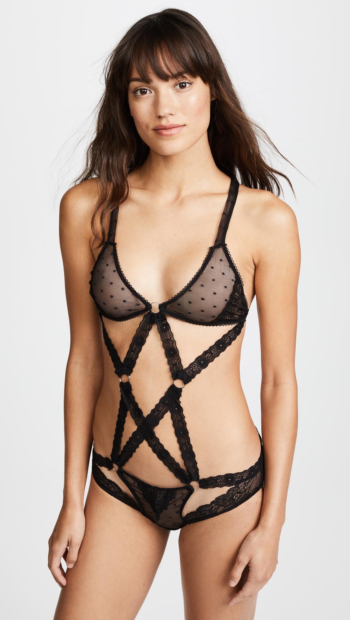 33a80138081cfa Lyst - Honeydew Intimates Nichole Lace Bodysuit in Black