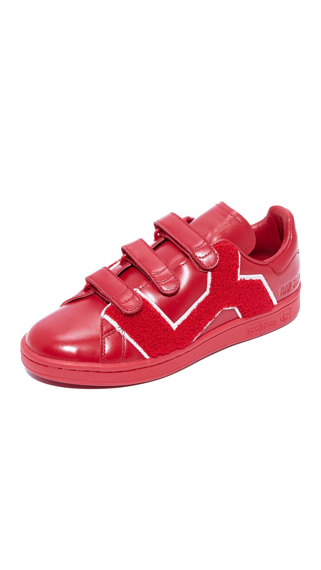 Lyst Adidas Raf Simons Stan Smith Conforto Distintivo Scarpe In Rosso