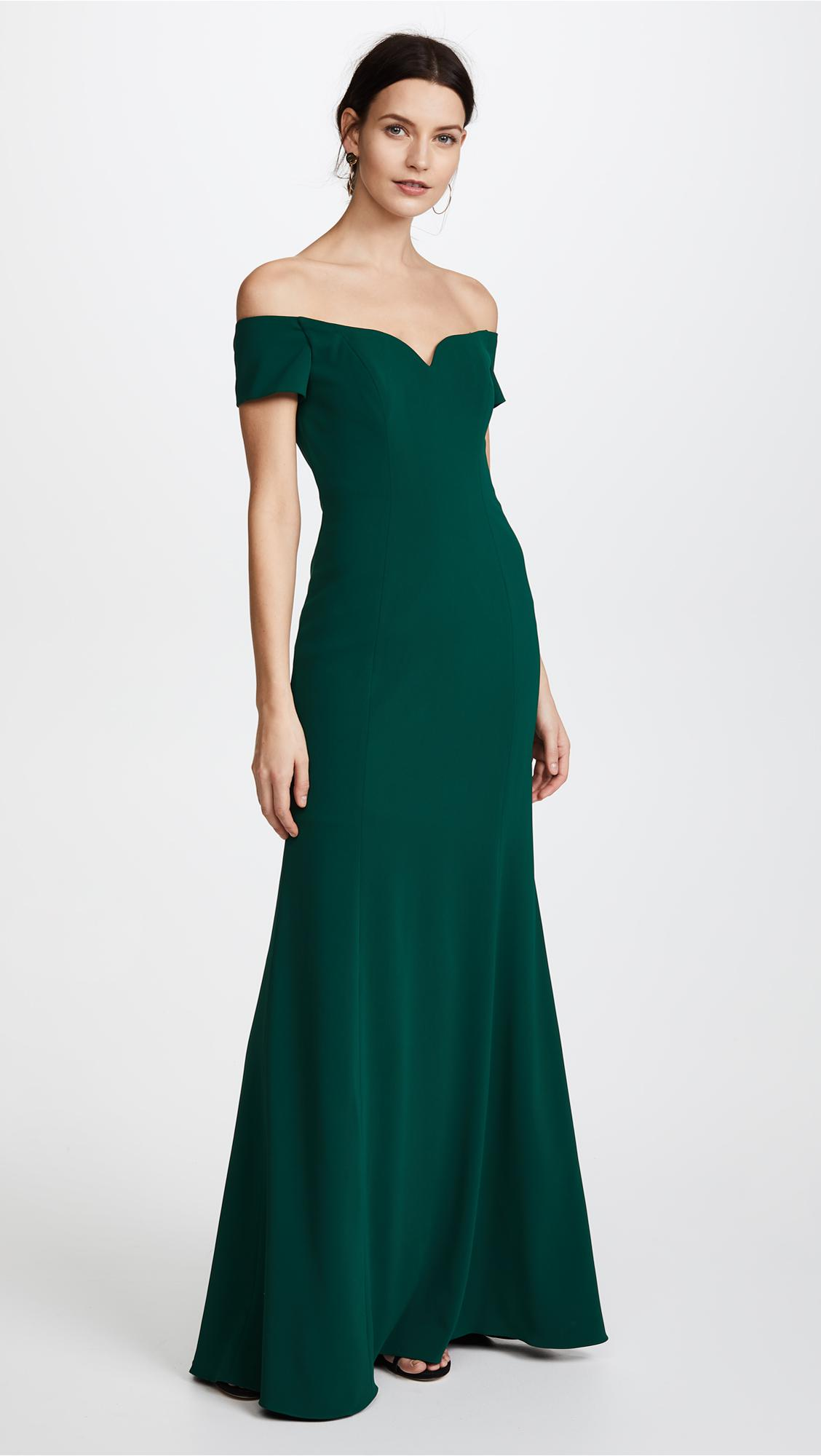 Lyst - Badgley Mischka Off Shoulder Short Sleeve Gown in Green - photo#6