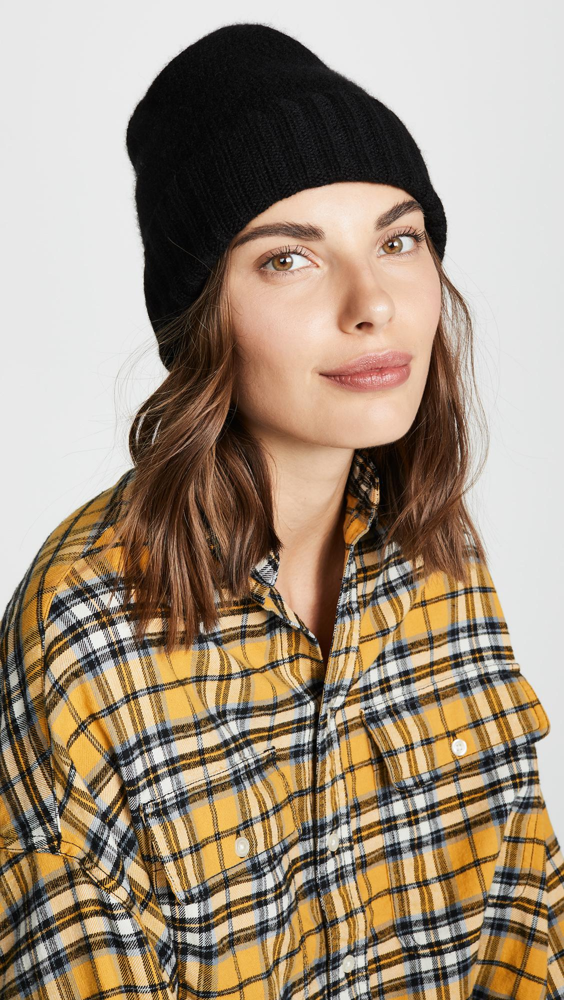 93703b1d56 Hat Attack Cashmere Slouchy Cuff Hat in Black - Lyst