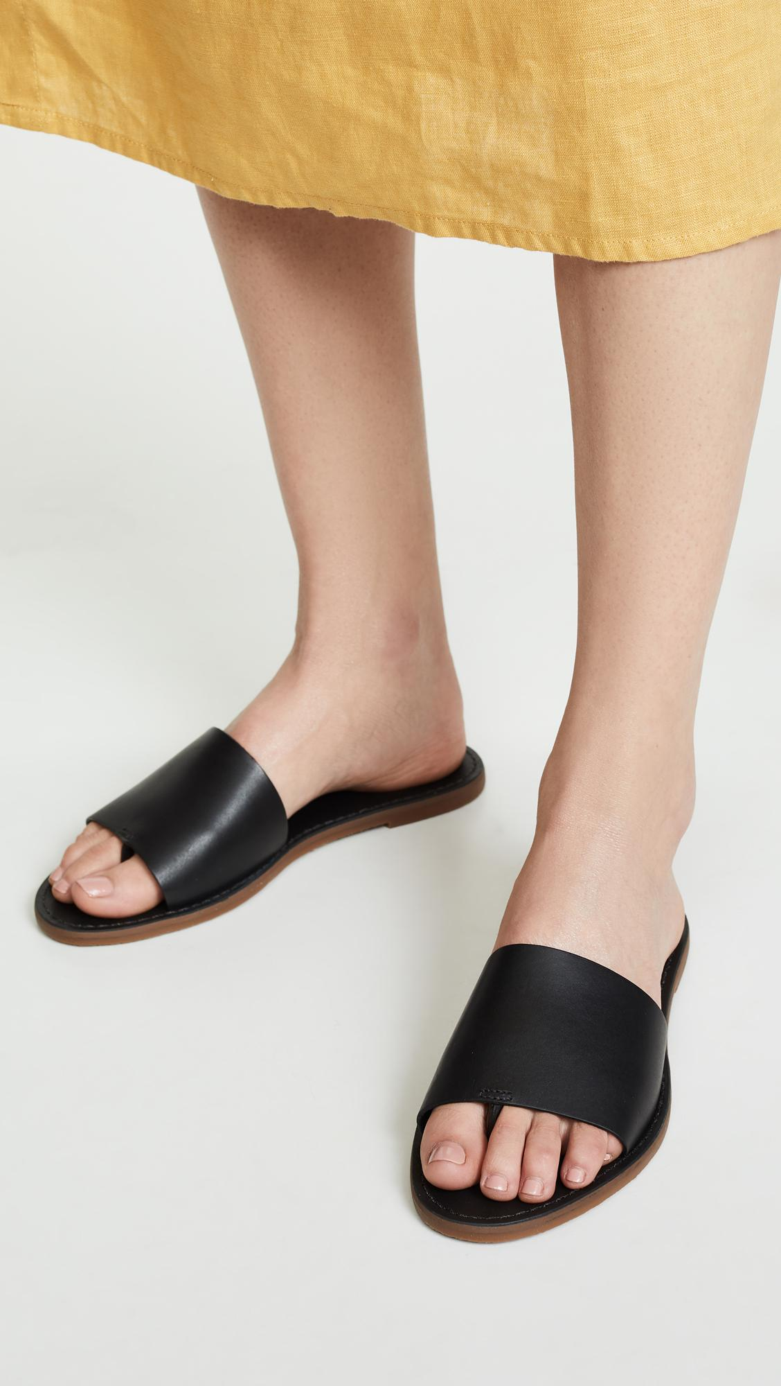 50a67122b95e83 Lyst - Madewell The Boardwalk Post Slide Sandals in Black