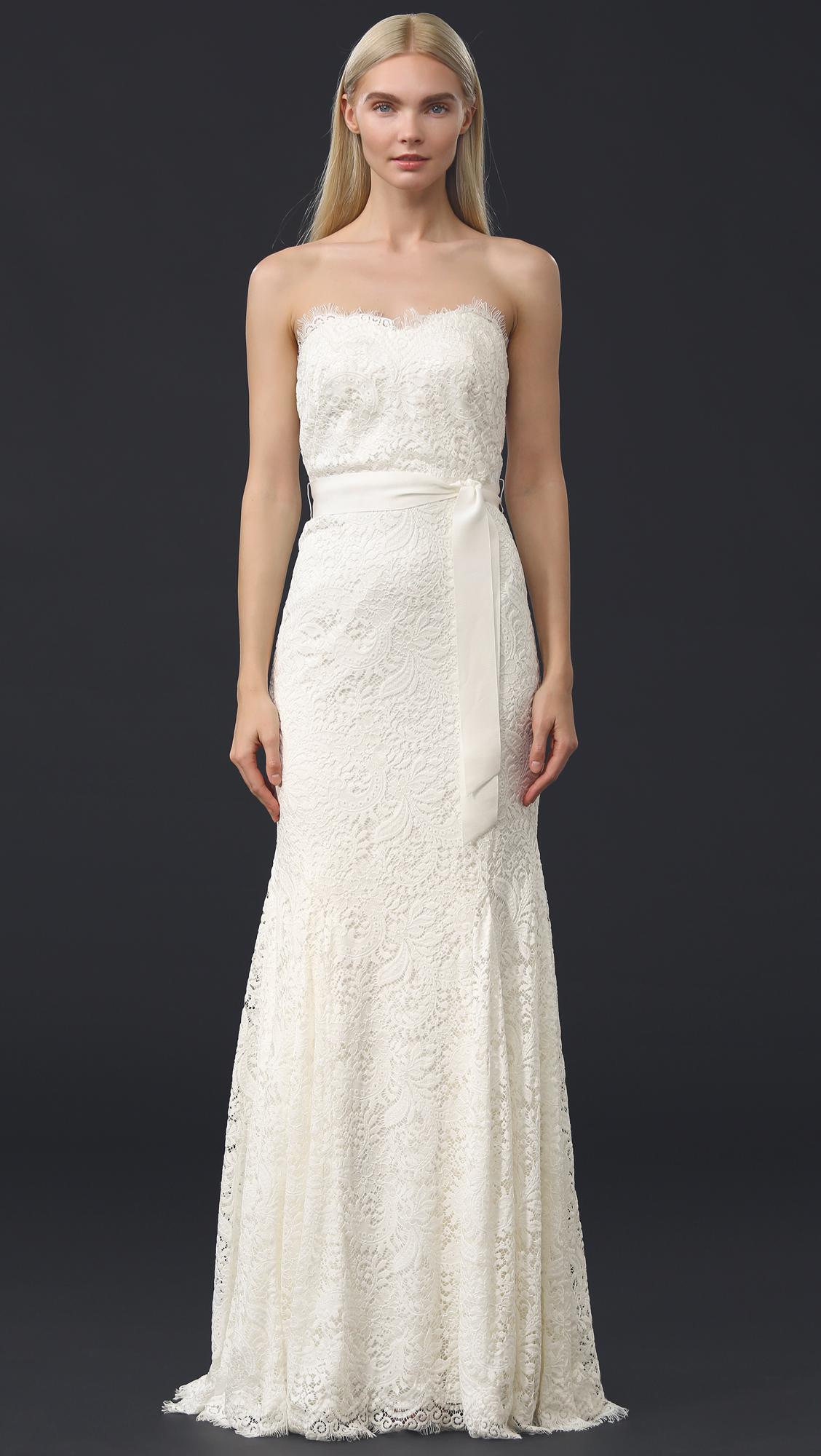 759b6f4c68f THEIA - White Sweetheart Strapless Lace Gown - Lyst. View fullscreen