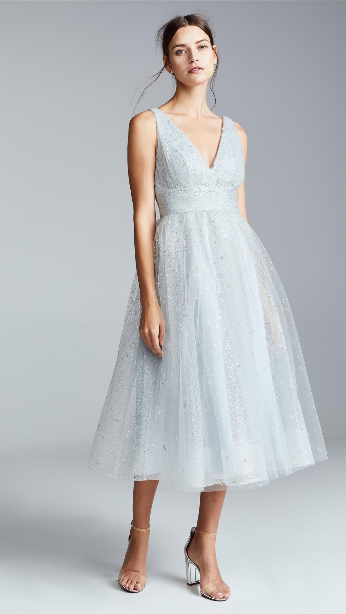 d4dd61d8 Marchesa notte V Neck Tulle Glitter Gown in Metallic - Lyst