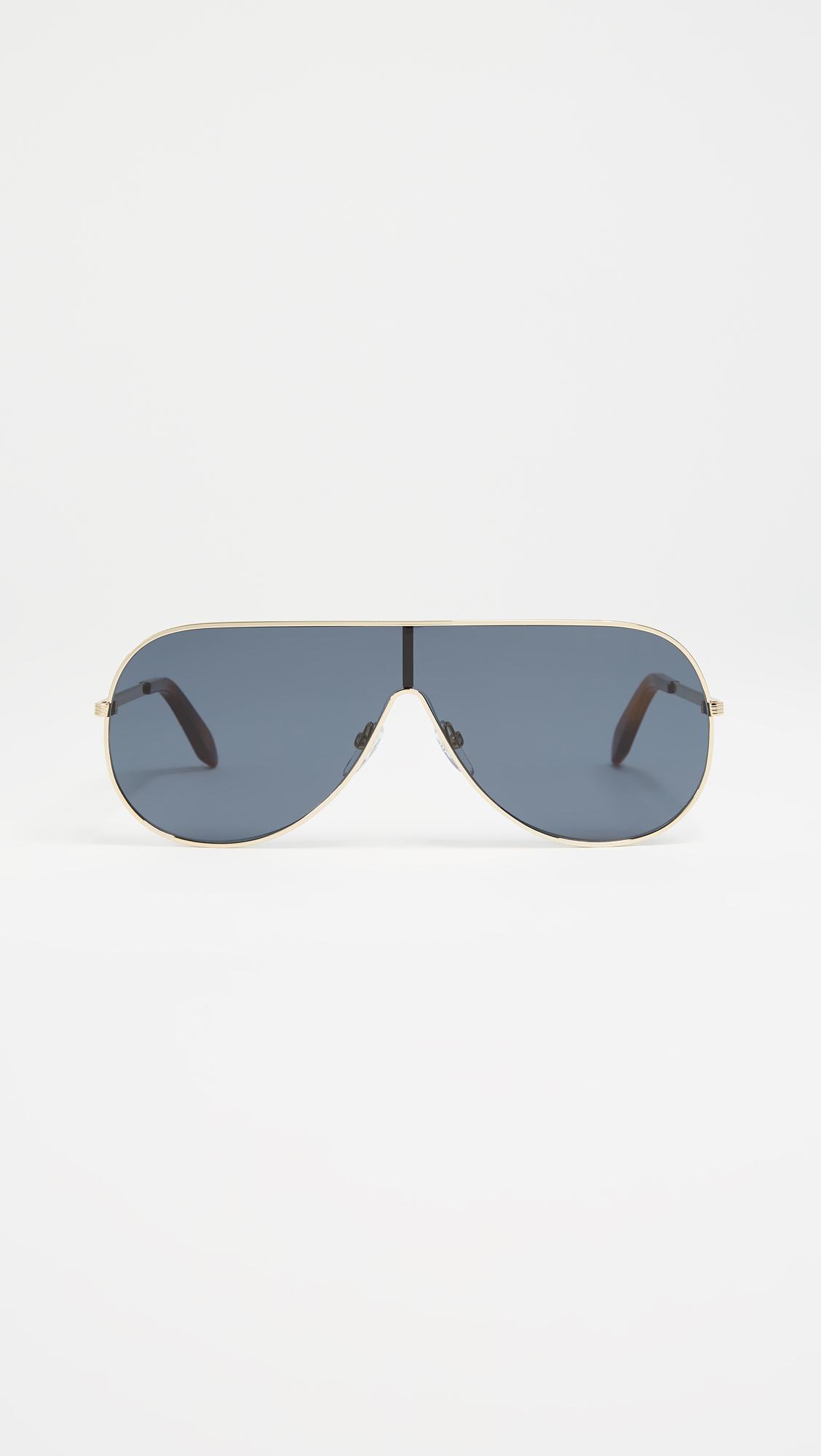 4b544d710d Victoria Beckham Grooved Metal Visor Sunglasses - Lyst