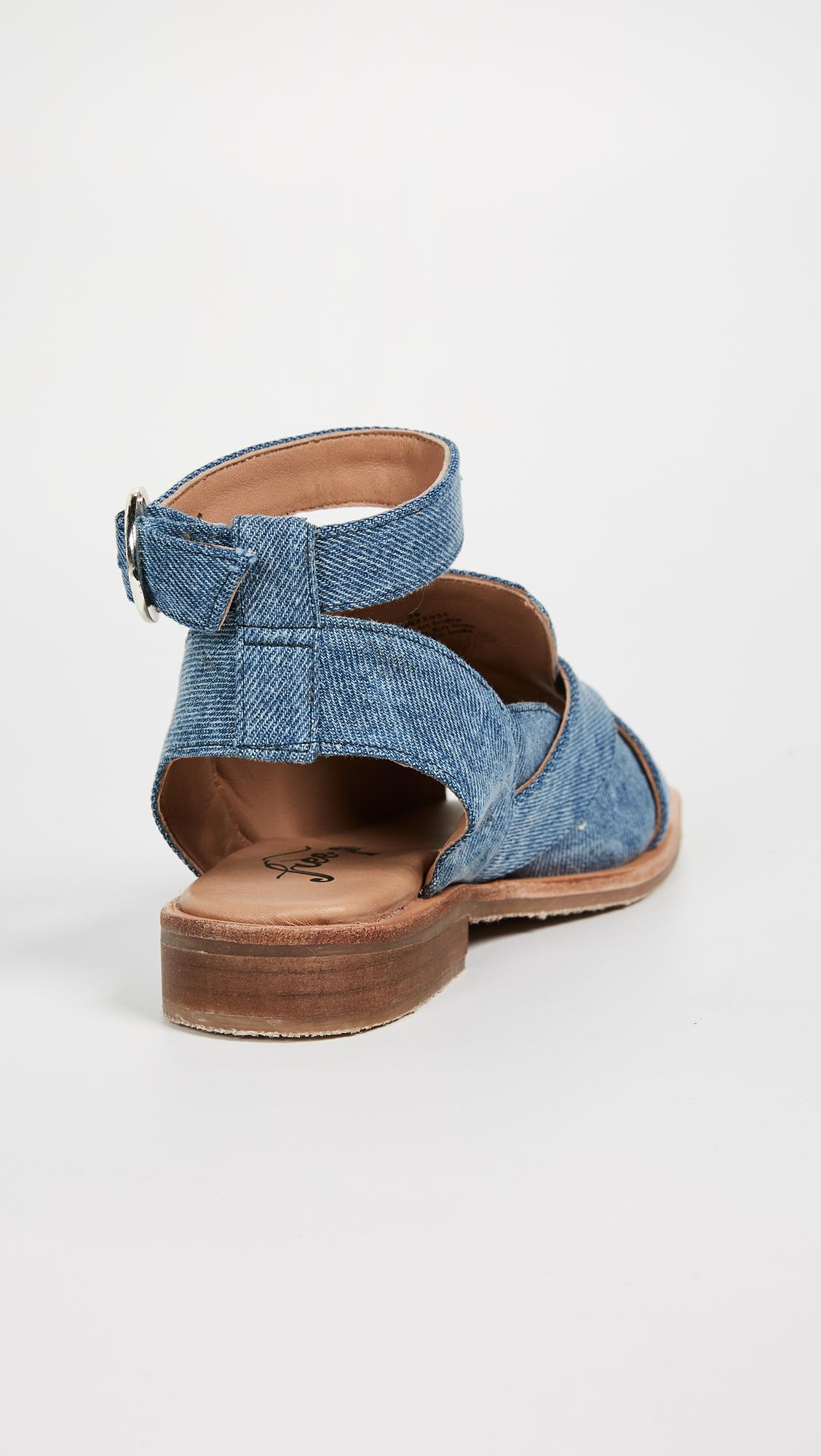 01776b60e72 Lyst - Free People Denim Catherine Loafer Sandals in Blue