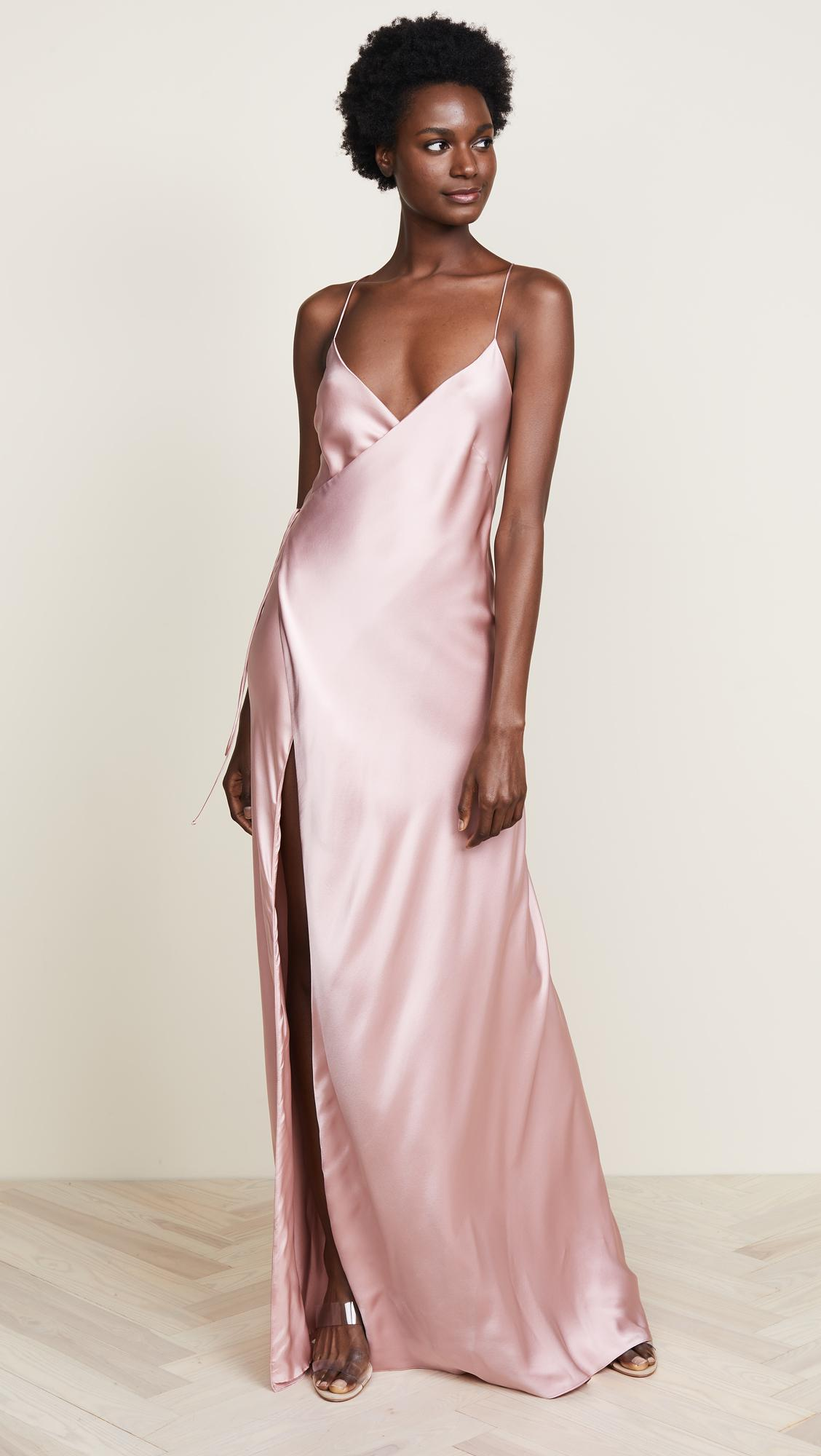 fe1fe559c86c05 Lyst - Michelle Mason Strappy Wrap Gown in Pink