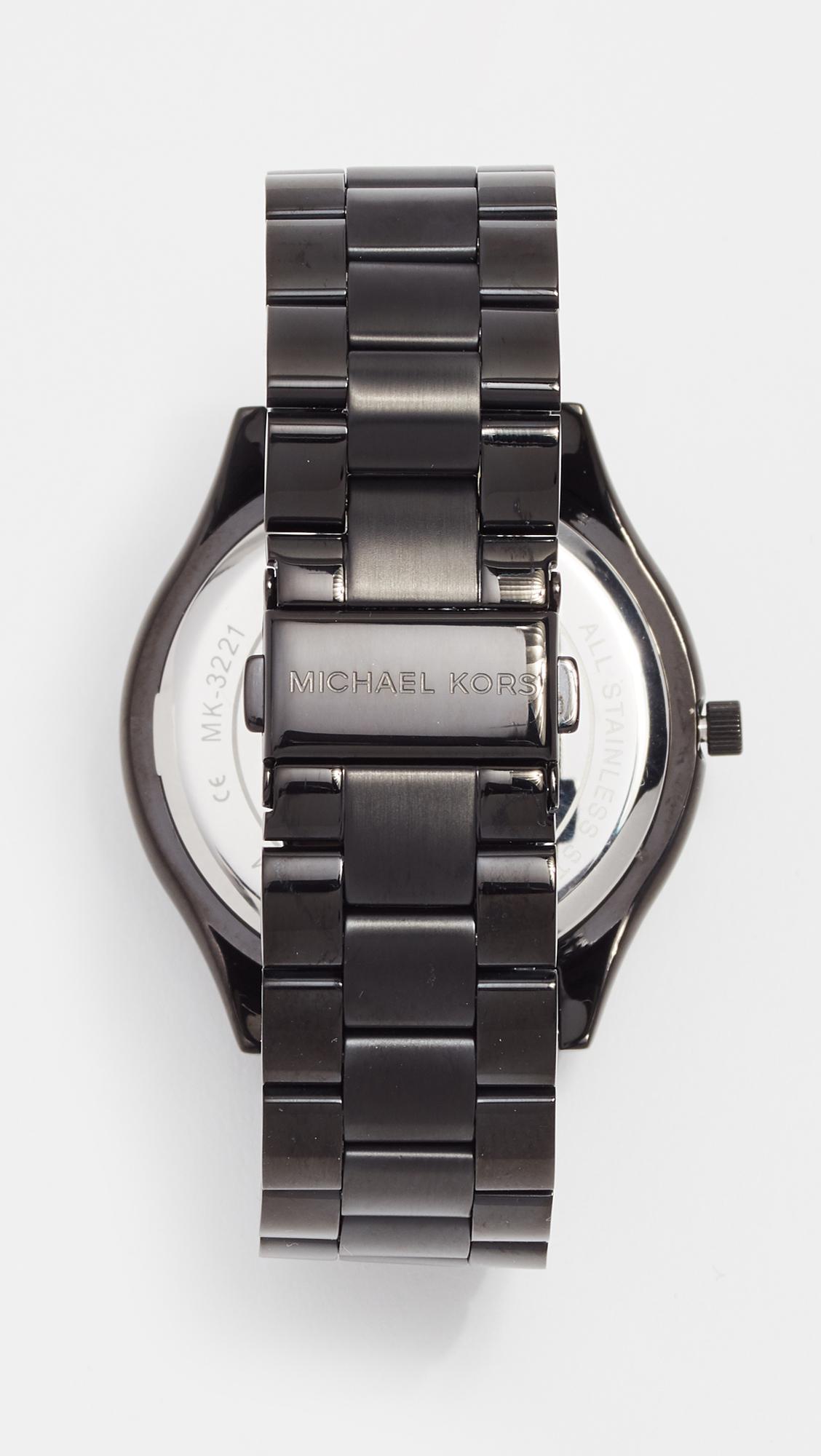 a6b820fdce0b Lyst - Michael Kors Slim Runway Watch in Black