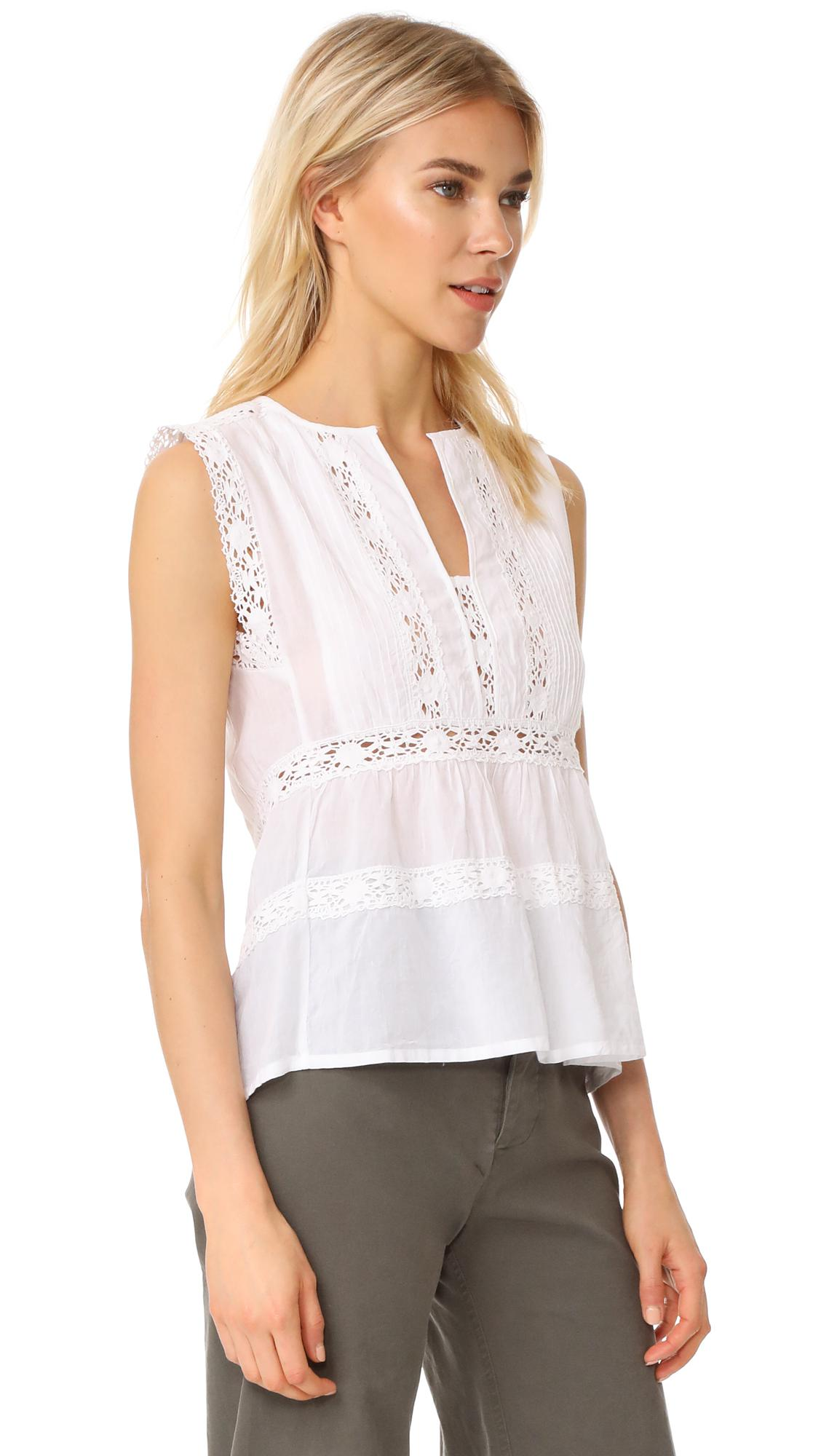 de195c4043805e Lyst - Love Sam Sleeveless Lace And Pintuck Blouse in White