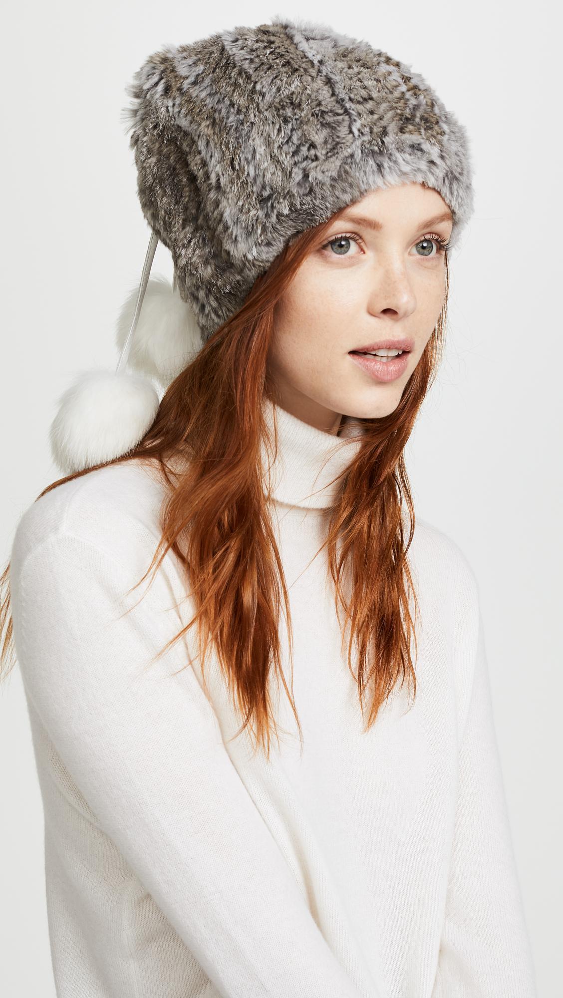 Lyst - Adrienne Landau Fur Pom Pom Hat 7f4b56d6faa