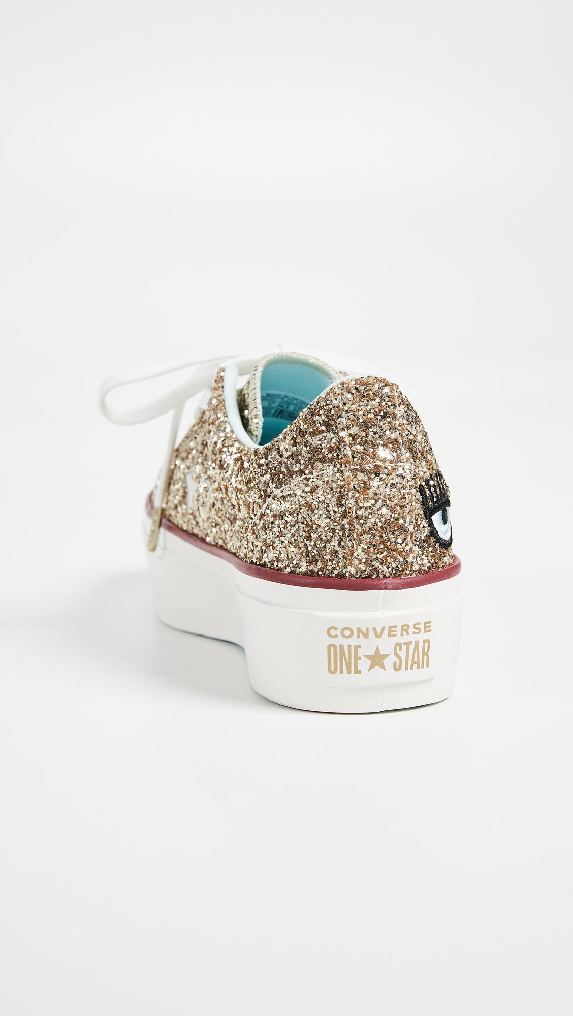 a743b87e9c88 Lyst - Converse One Star X Chiara Ferragni Lace Up Sneakers in Metallic