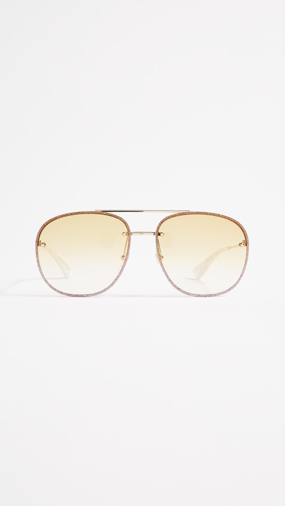 02846ee10c9 Lyst - Gucci Urban Web Block Glitter Aviator Sunglasses in Metallic