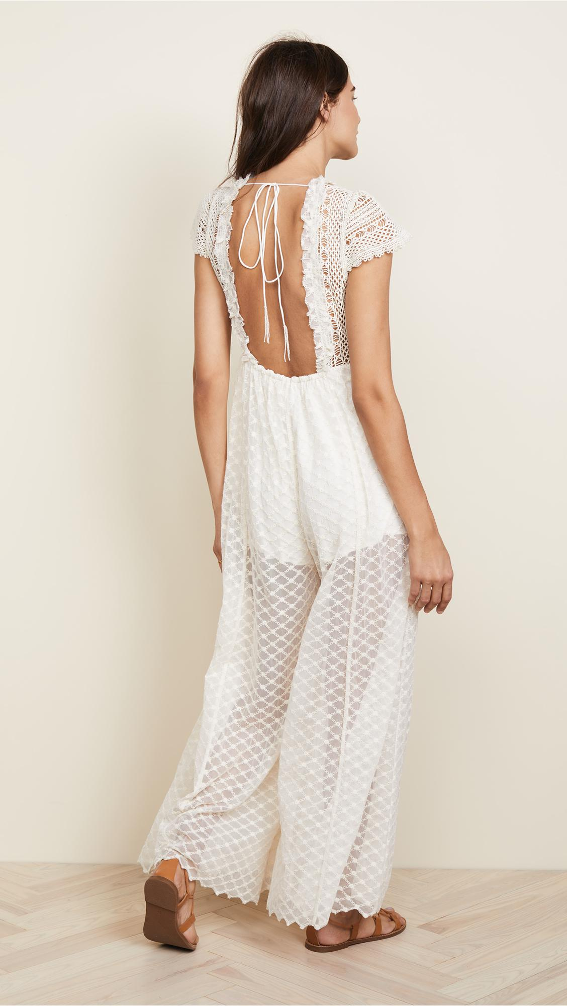 d4a14cd211b Lyst - Free People Chleo Embellished Maxi Jumpsuit in Natural