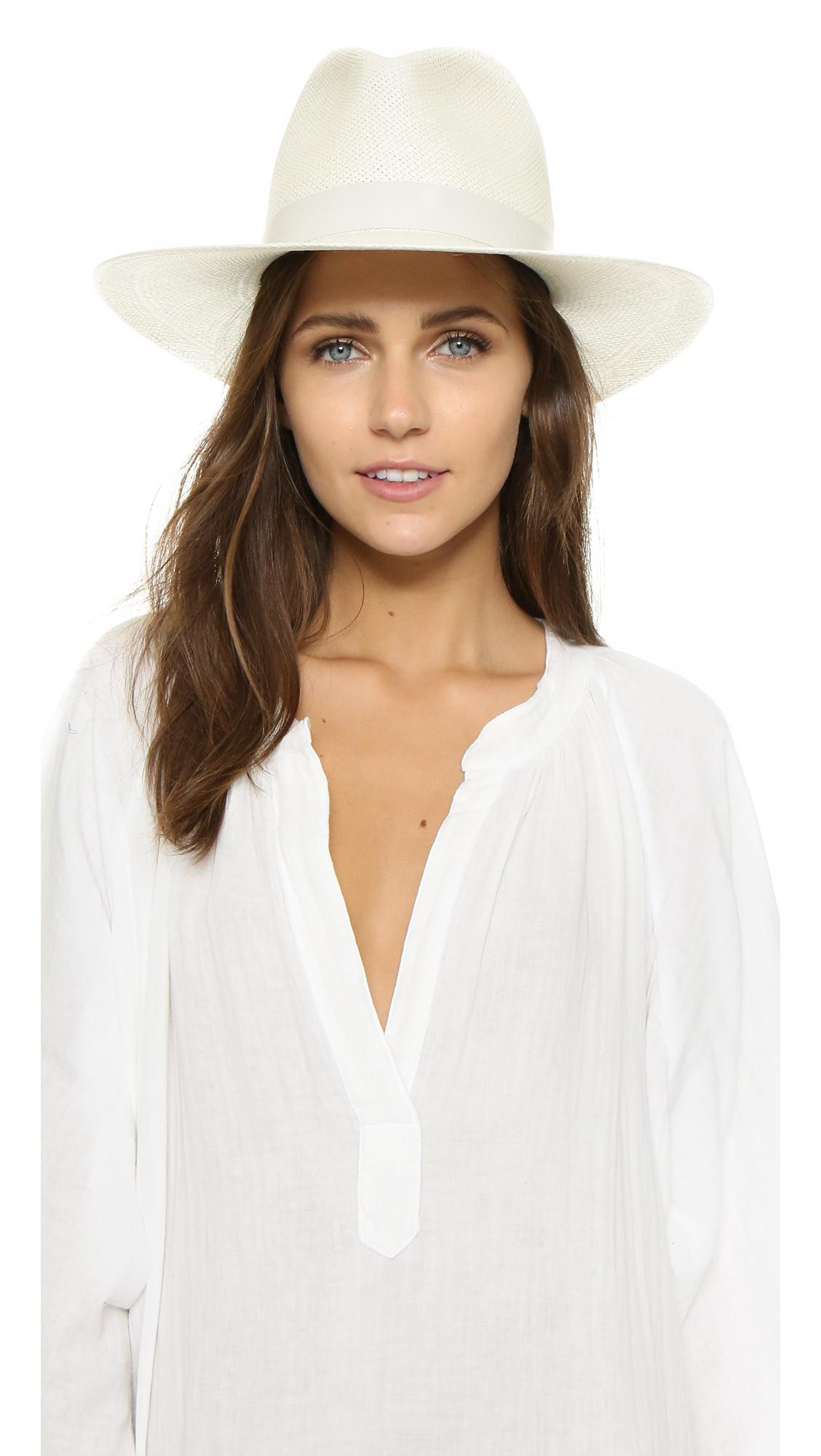 Lyst - Janessa Leone Aisley Short Brimmed Panama Hat in White a2db5cc9f92