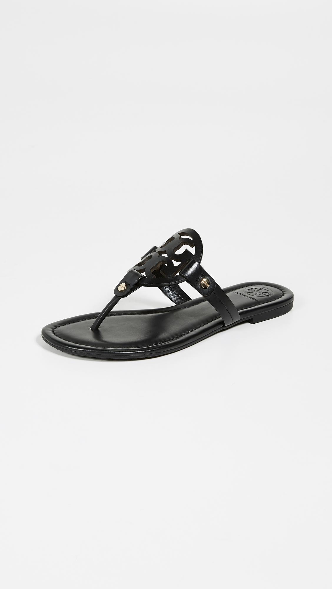 049a0c602b9458 Tory Burch Miller Thong Sandals in Black - Lyst