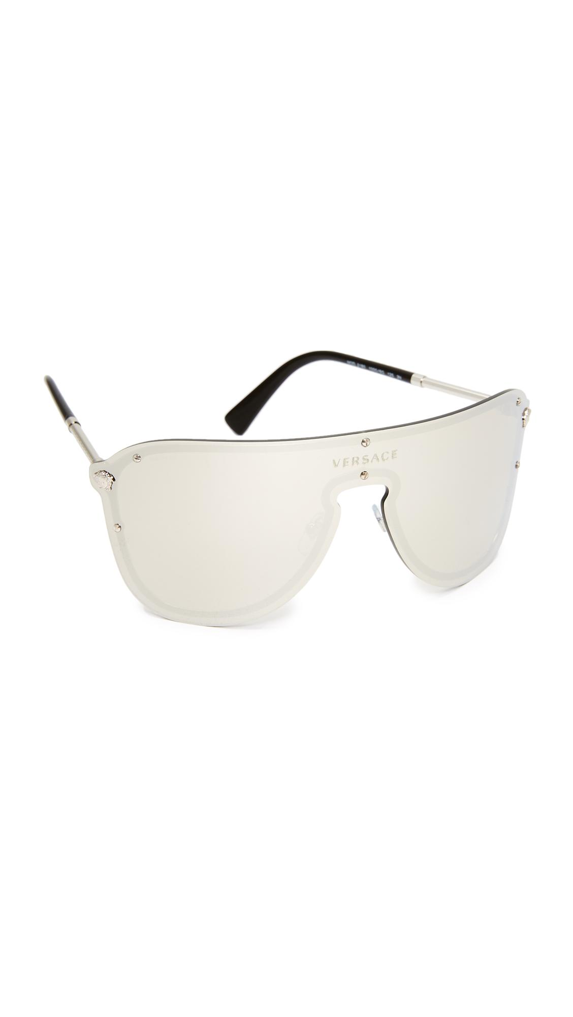 c9c27d783294 Lyst - Versace Mirrored Shield Sunglasses in Metallic