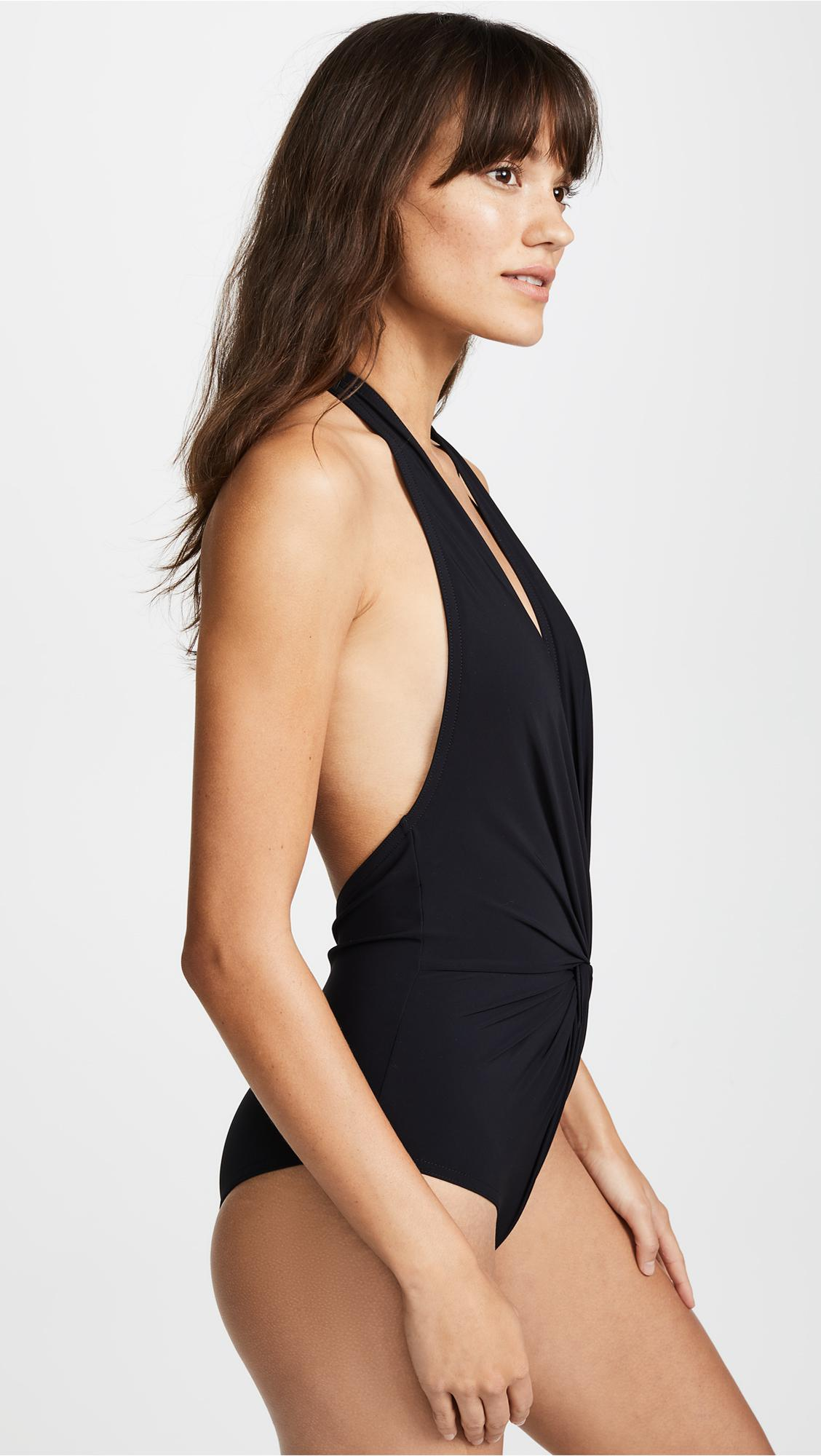 e03db37a7c0d8 Karla Colletto - Black Low Back Plunge One Piece Swimsuit - Lyst. View  fullscreen