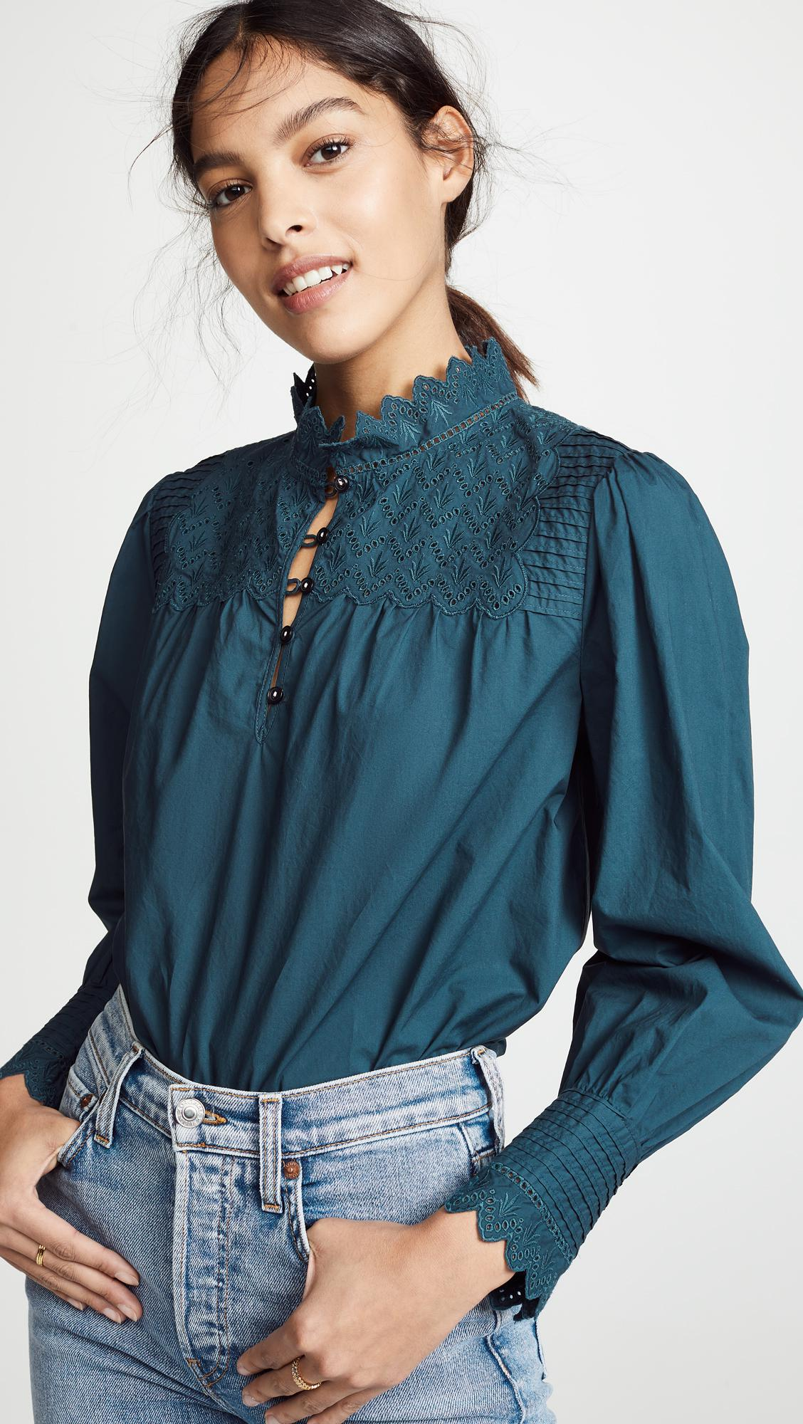 ac894a5a9d5e0 Lyst - La Vie Rebecca Taylor Long Sleeve Embroidered Poplin Top in Blue