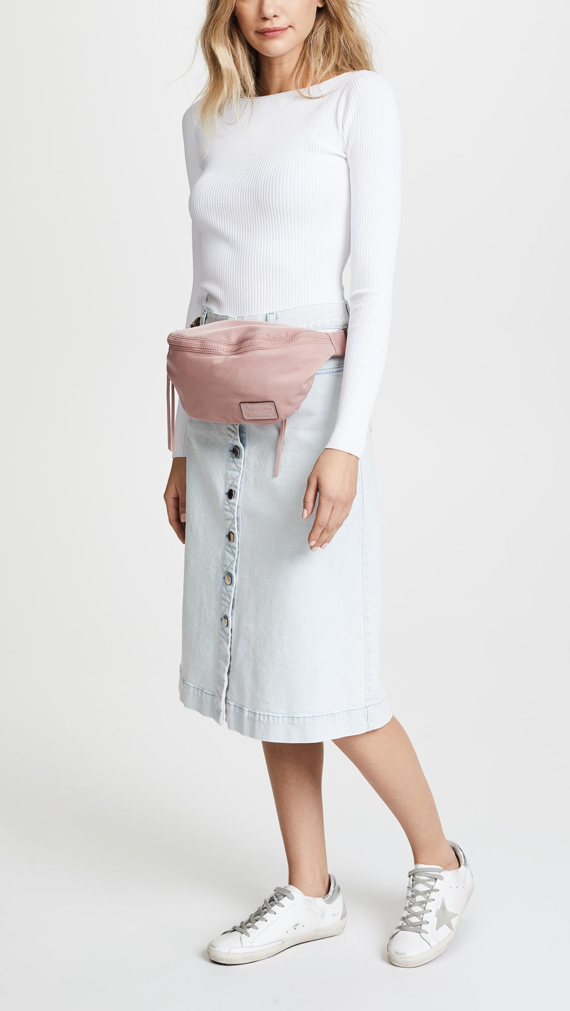 06ac4335996 Rebecca Minkoff - Pink Nylon Belt Bag - Lyst. View fullscreen