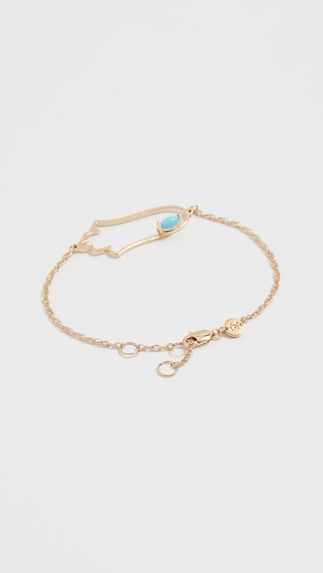 Jennifer Zeuner Open Hamsa Bracelet with Turquoise JOMLZf