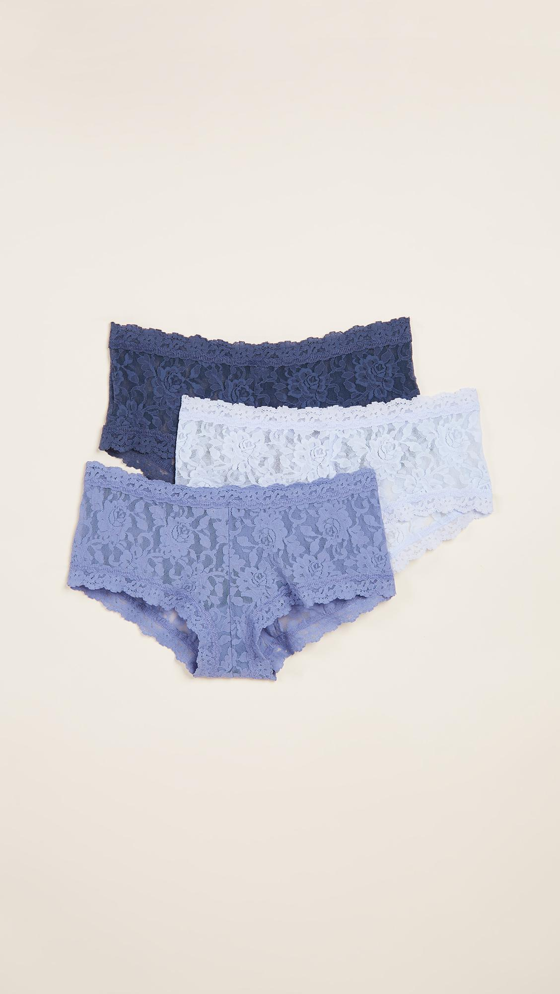 92fd1624a78 Lyst - Hanky Panky 3 Pack Signature Lace Something Blue Boy Shorts ...