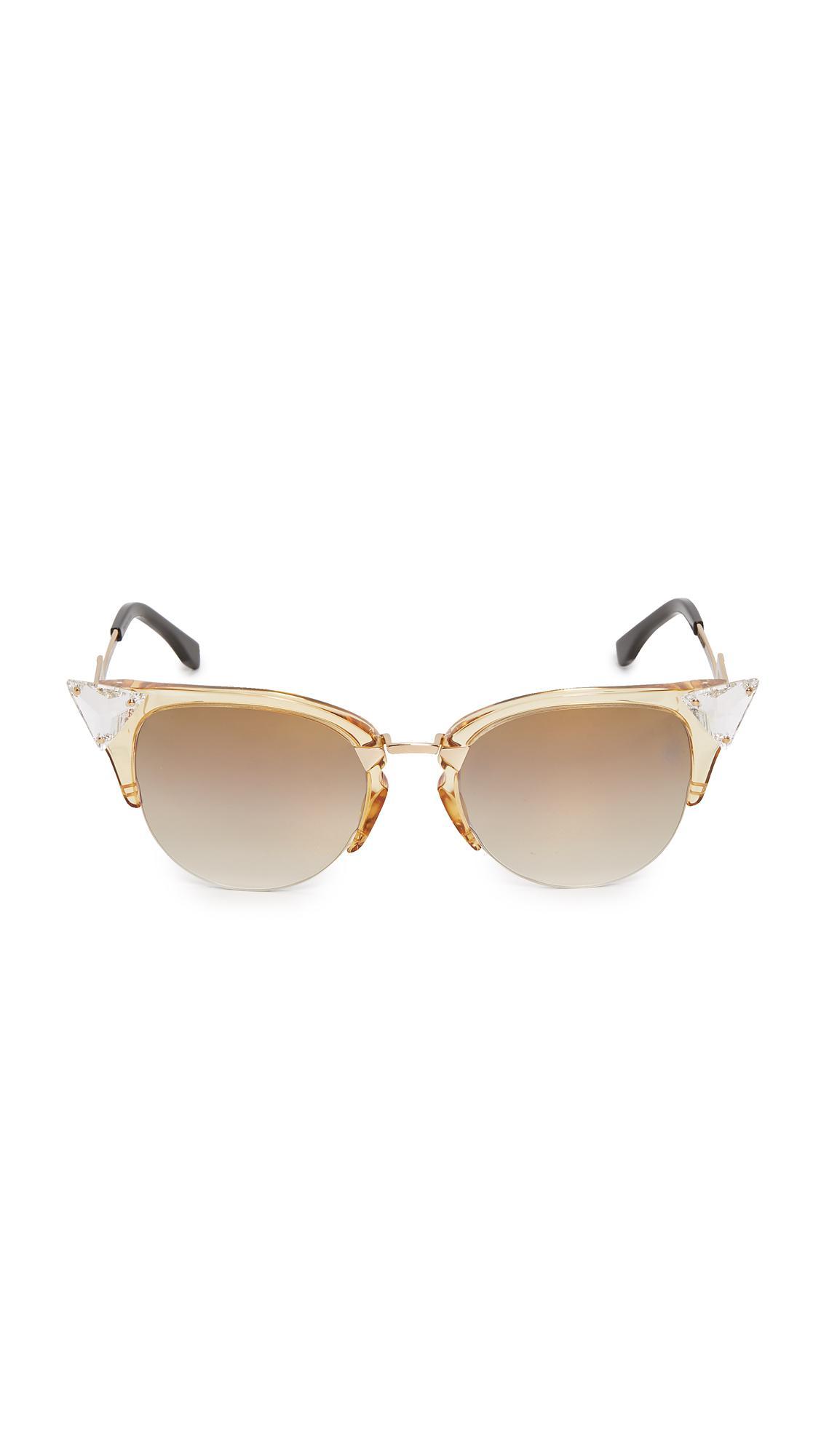 899c01c77b4 Lyst - Fendi Iridia Crystal Corner Sunglasses