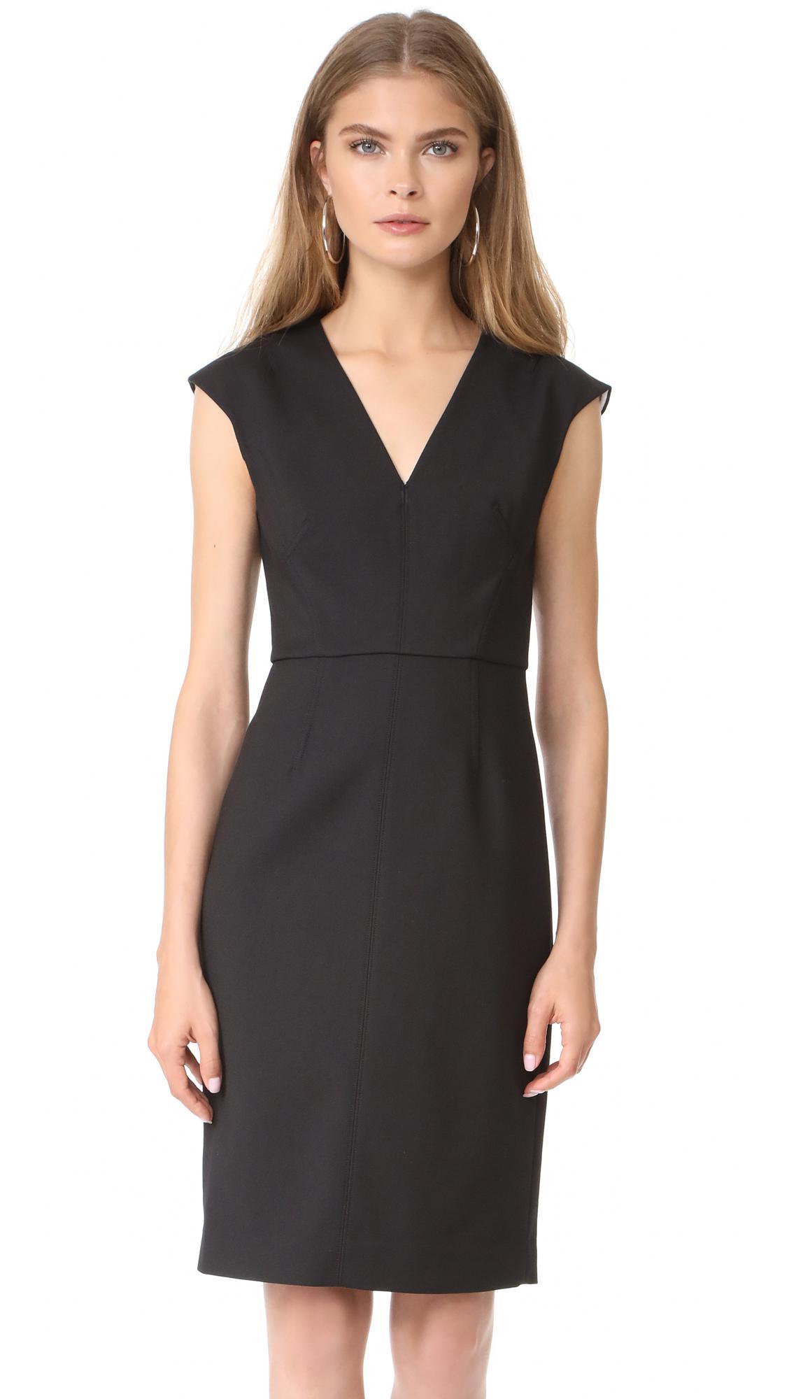 Lyst Diane Von Furstenberg Cap Sleeve V Neck Dress In Black