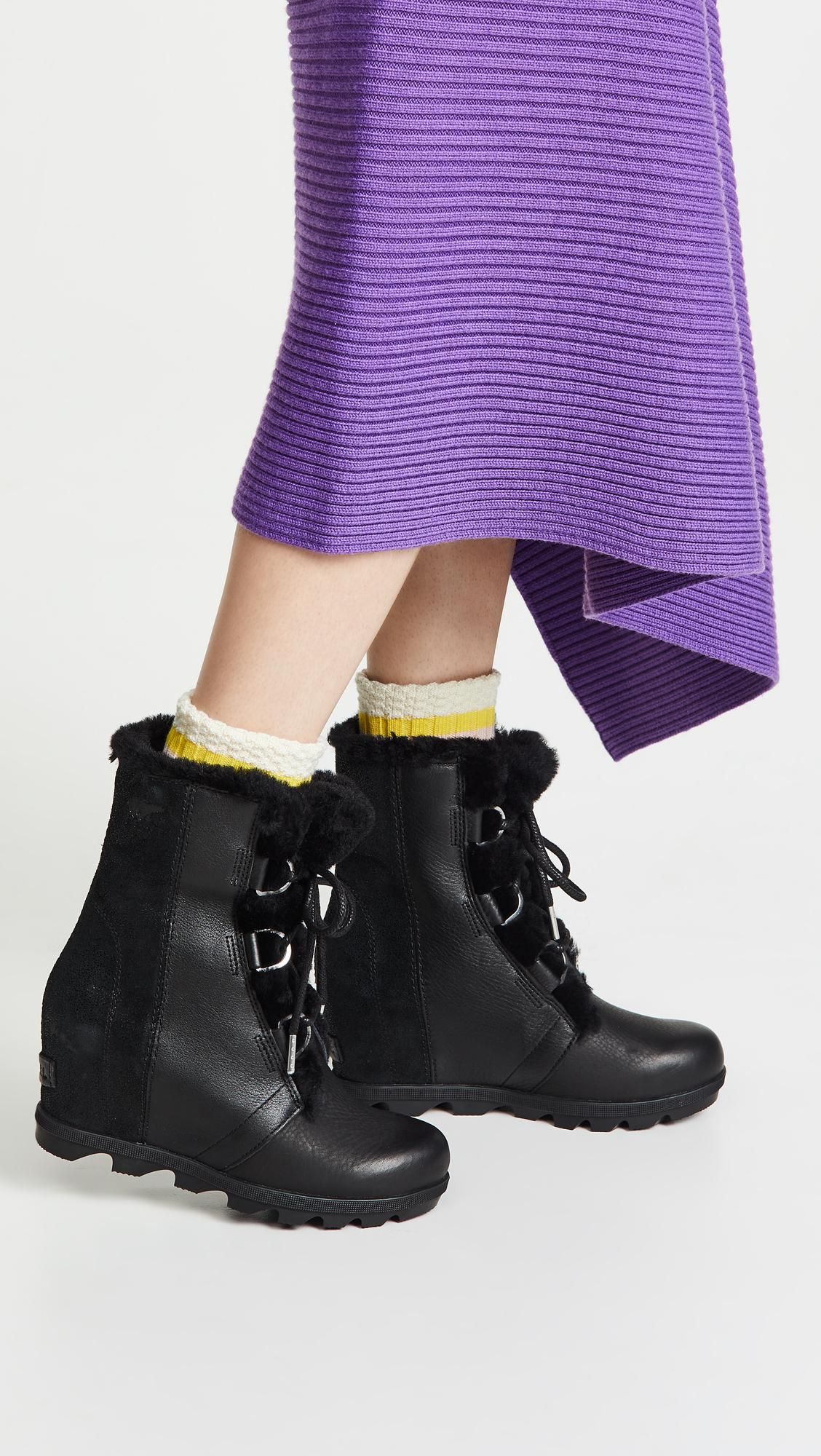 43844f31764 Sorel - Black Joan Of Arctic Wedge Ii Shearling Boots - Lyst. View  fullscreen