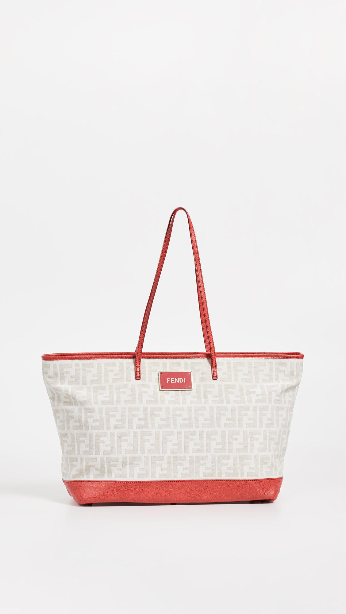 3cba1f5927 Lyst - What Goes Around Comes Around Fendi Red Zucca Roll Tote in Red