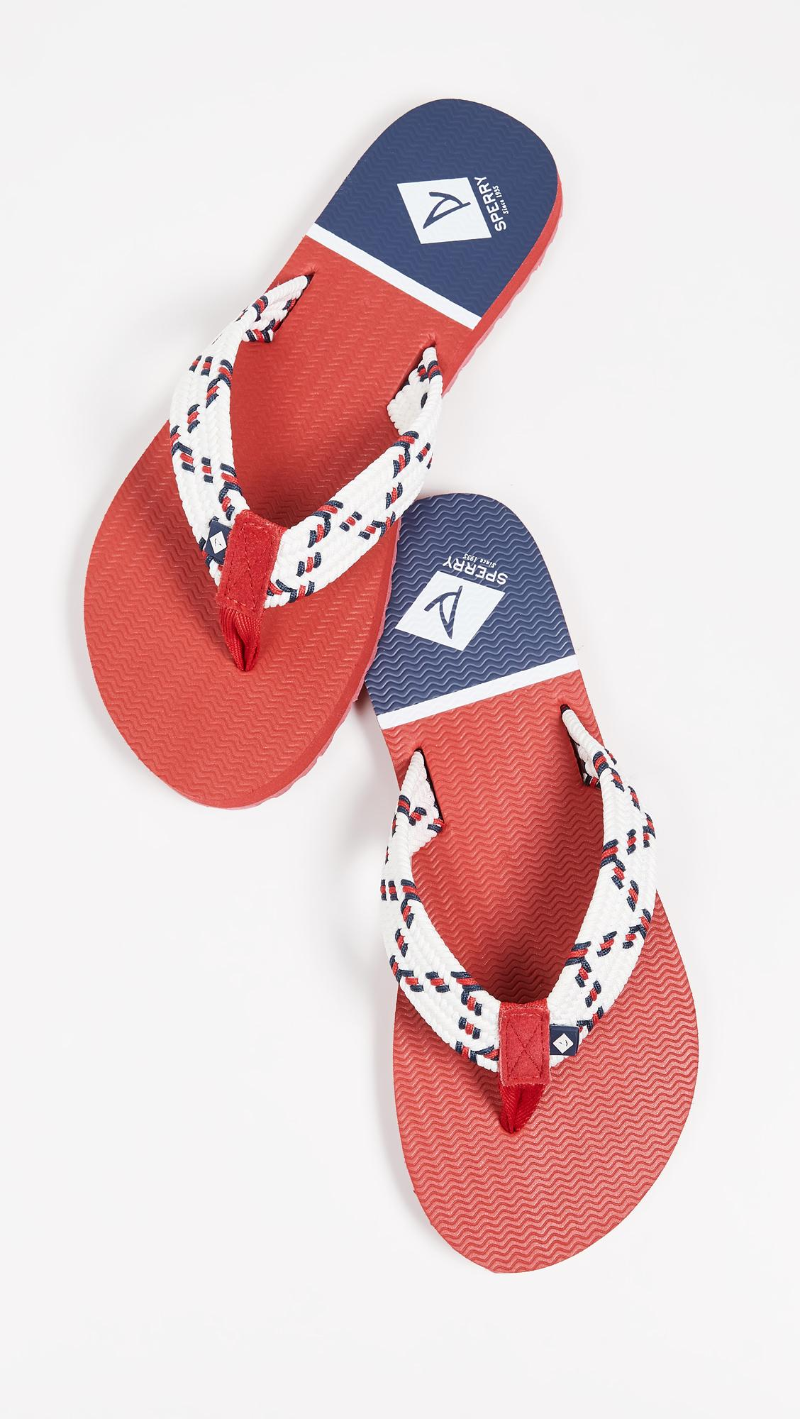 7bb8c7f528d Sperry Top-Sider Edgewater Woven Thong Sandals in Red - Lyst