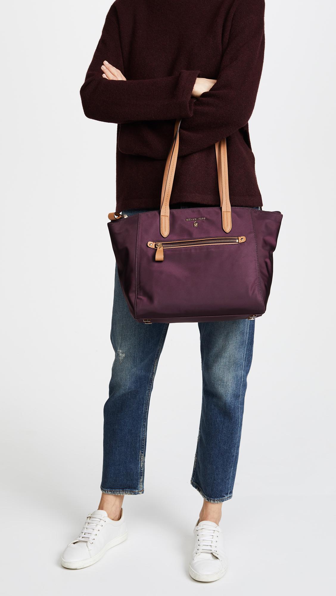 33407f544e5a4c MICHAEL Michael Kors Nylon Kelsey Medium Top Zip Tote in Purple - Lyst