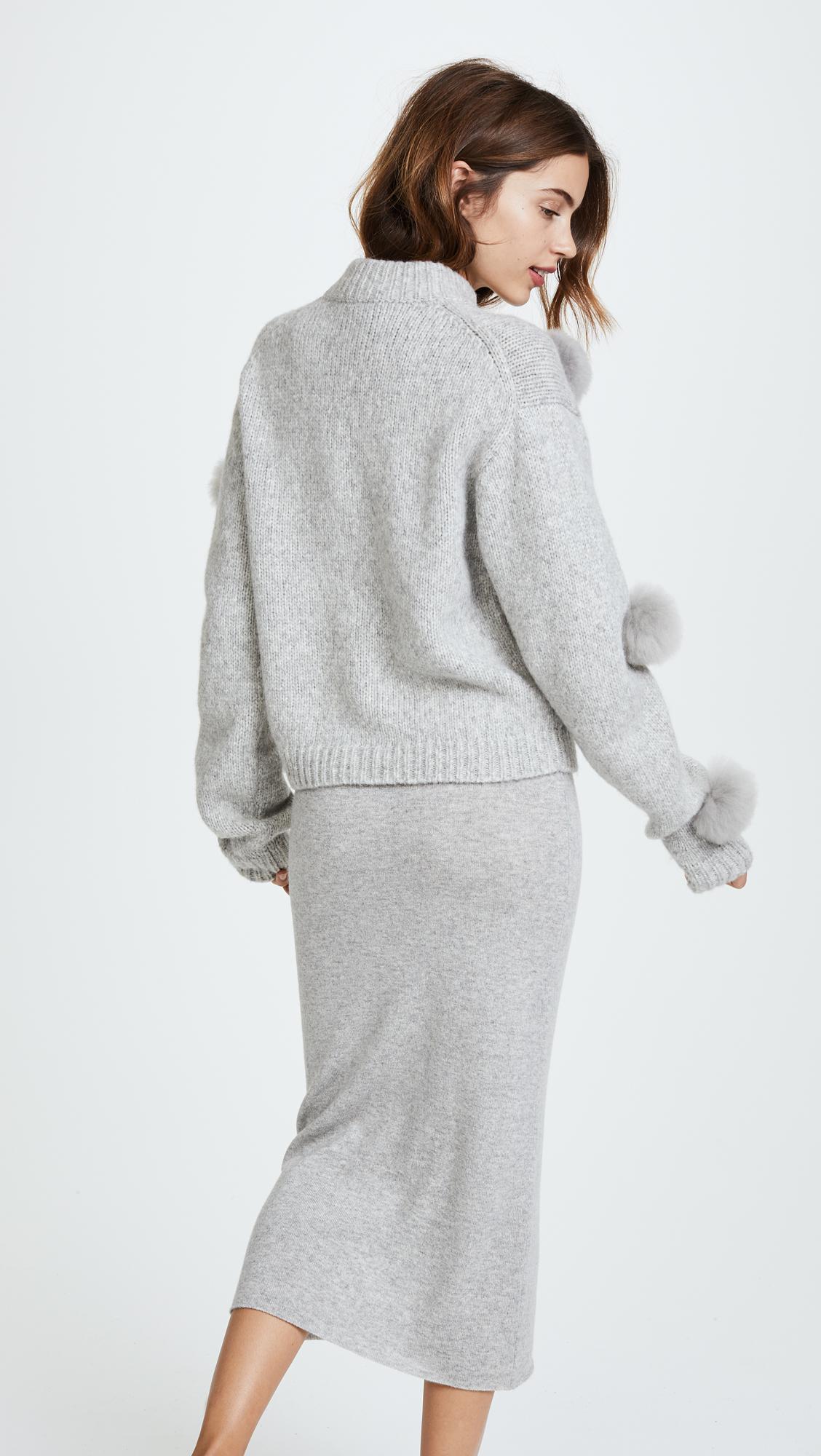 Lyst Tibi Cropped Alpaca Pom Pom Sweater In Gray