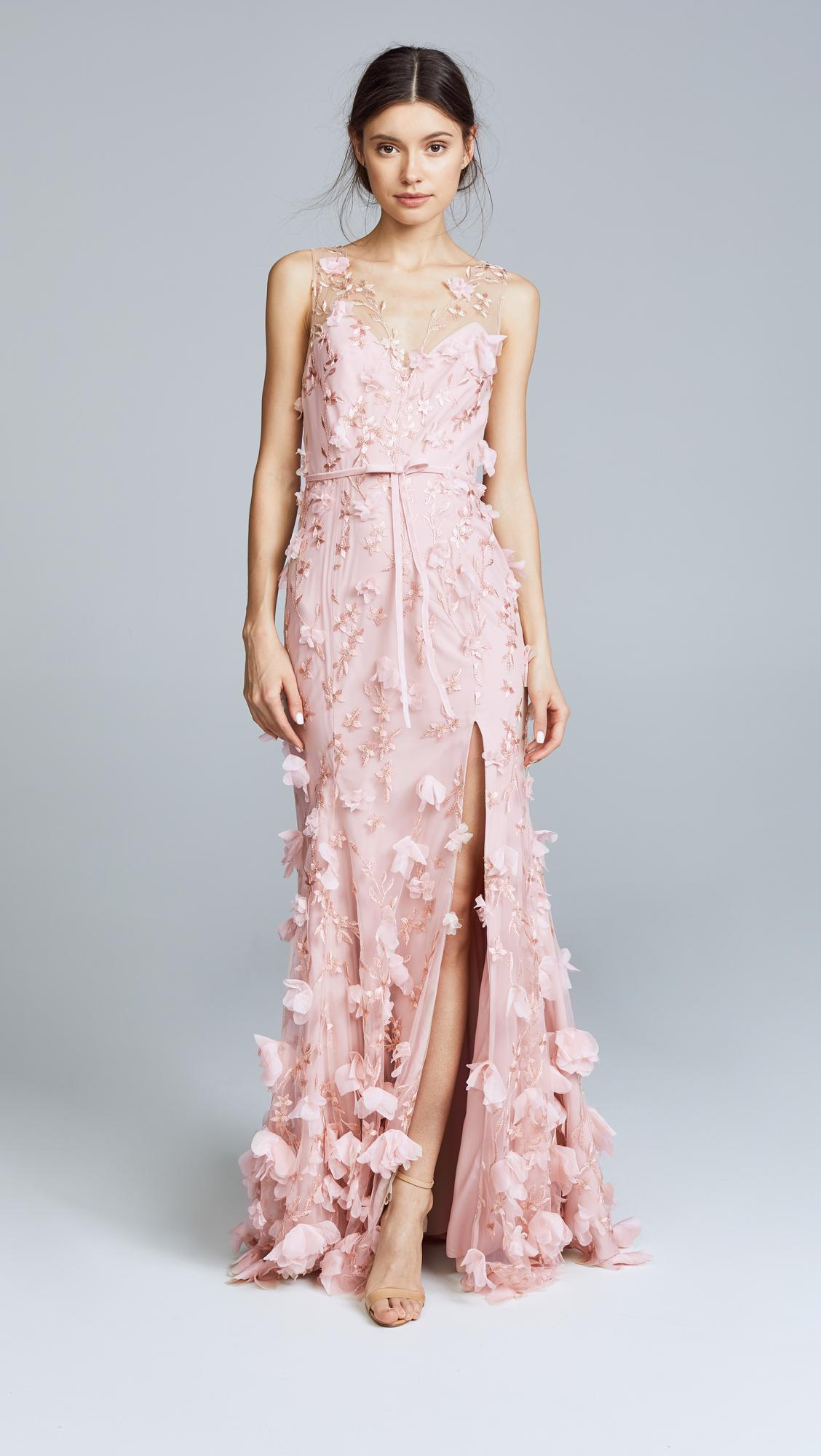 08a96e40f6465 Marchesa notte Embroidered Gown With 3d Flowers in Pink - Lyst