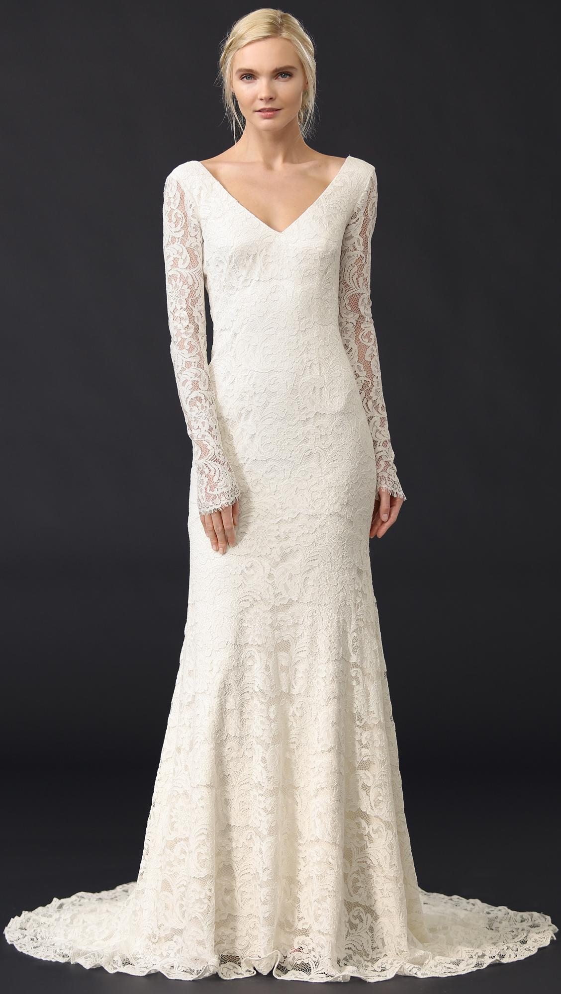 Lyst - Theia Nicole Lace Gown in White - Save 30.033444816053517%