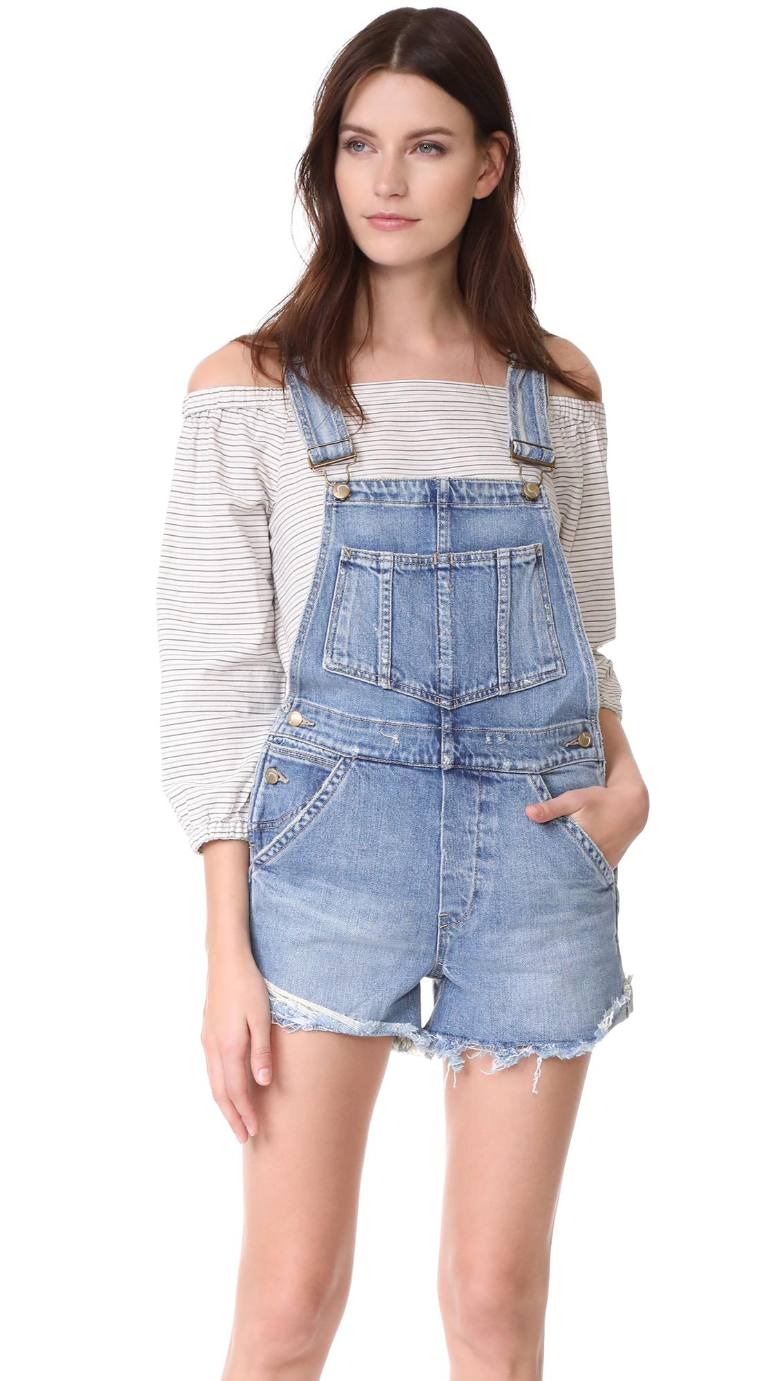 7751dc0291e Lyst - Joe s Jeans X Taylor Hill The Short Overalls in Blue