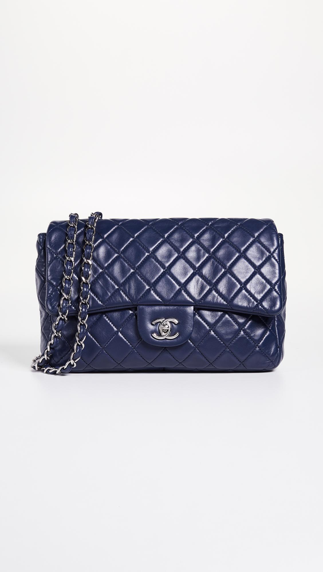 9f696d4cdb00db What Goes Around Comes Around. Women's Chanel Blue Lamb New Classic Jumbo  Bag